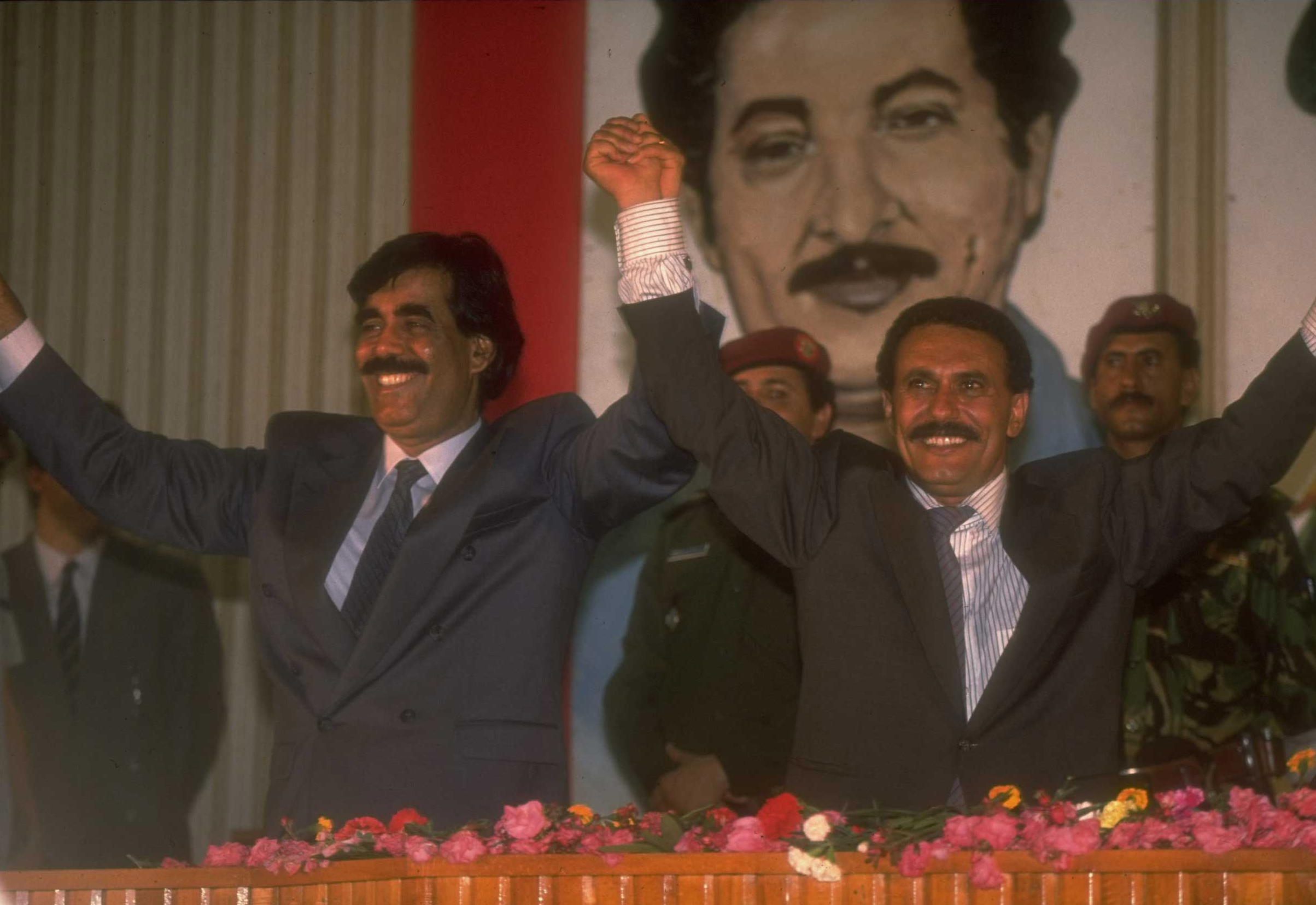 North and South Yemen finally overcame internal turmoil and occasional border clashes to agree on a unity deal in 1989. The merger the following year established the Republic of Yemen under the North's President Ali Abdullah Saleh (right), who would remain in power until 2012 .