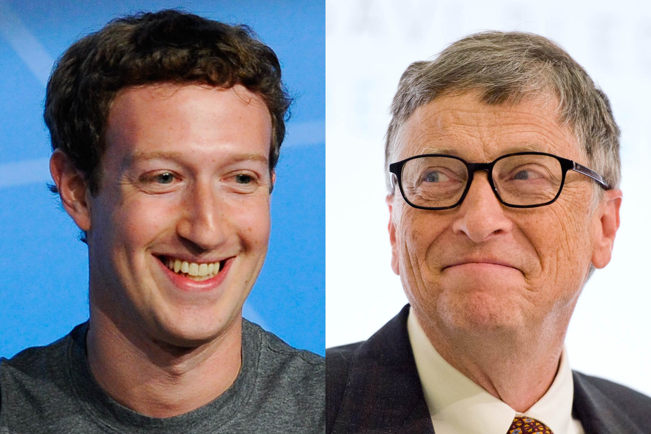 From left: Mark Zuckerberg and Bill Gates
