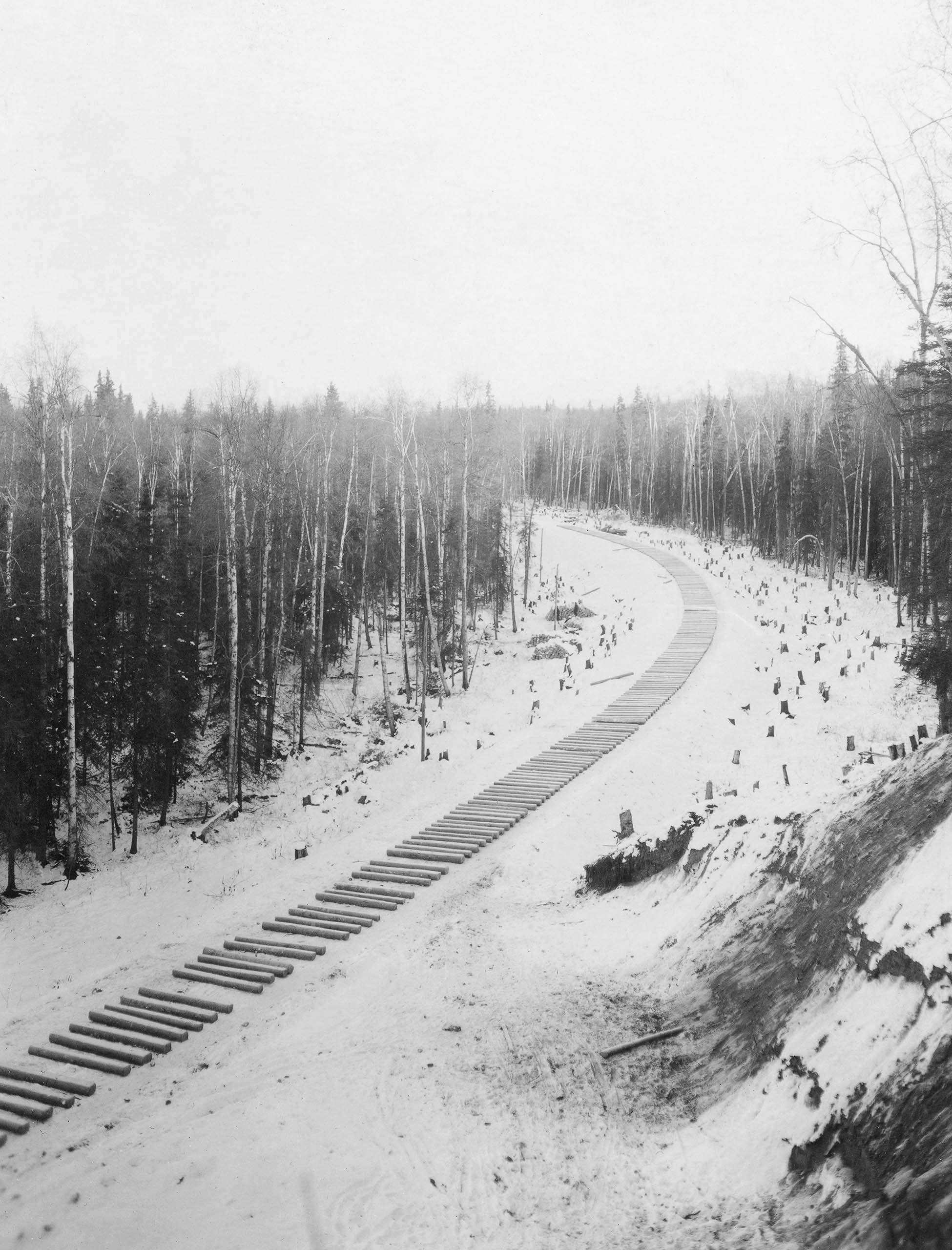 Railroad ties, Alaska. 1915.