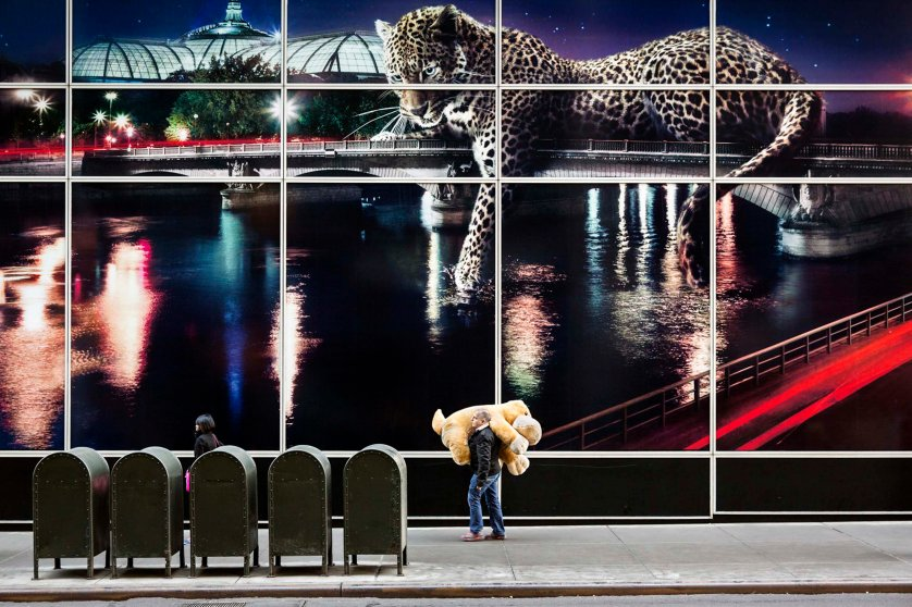 A man holding a big teddy bear passes by a Cartier billboard on 59th Street, New York.