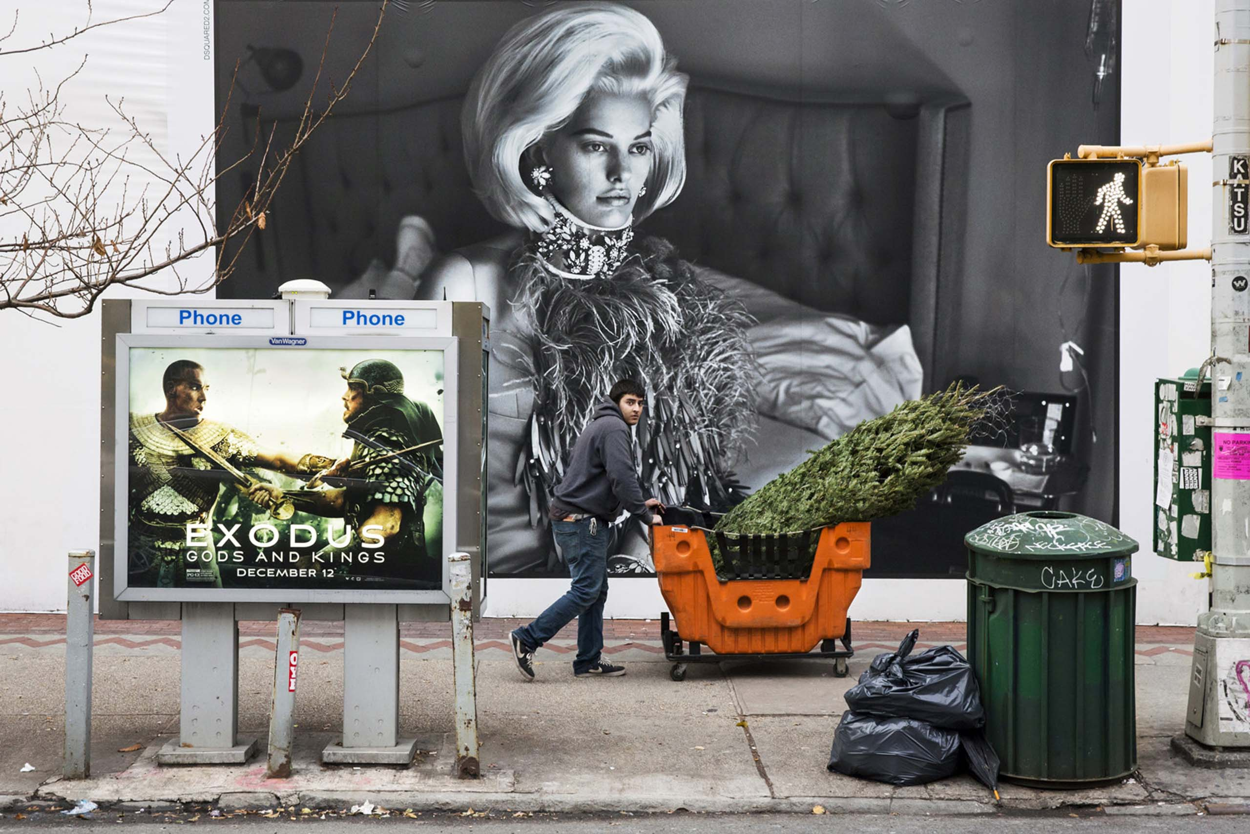 A man pushes a cart containing a wrapped Christmas Tree next to a DSquared2 billboard on West Broadway Avenue, New York, Dec. 12, 2014.