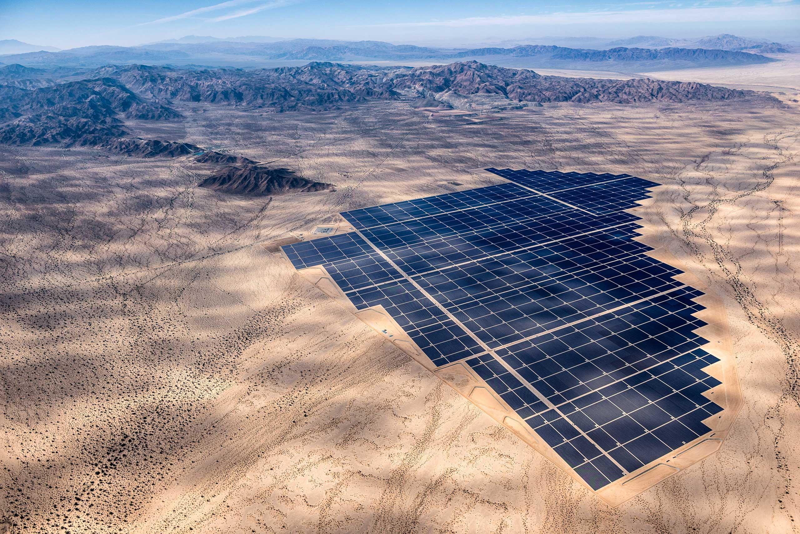 Desert Sunlight Solar Farm where 8 million solar panels power 160,000 California homes, in the Mojave Desert, California.
