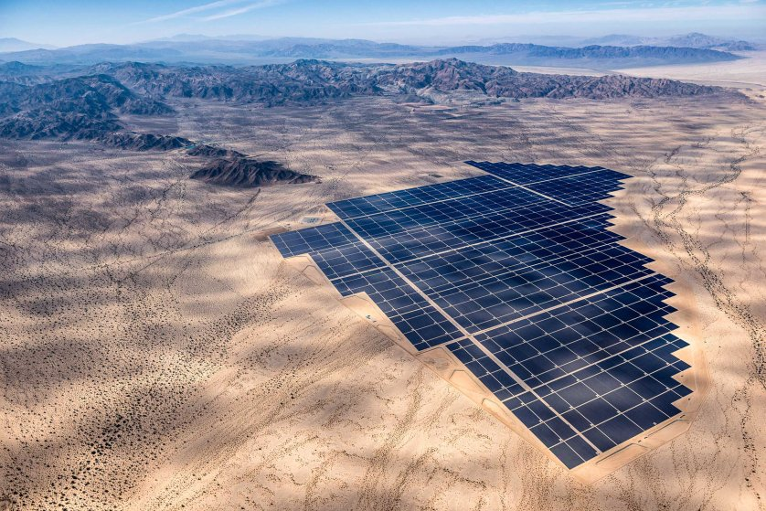 Desert Sunlight Solar Farm produces 550 megawatts of energy, equal to the output of a conventional power plant, near Palm Springs, California, where. 8 million photovoltaic (PV) panels convert sunlight into electricity.  Jamey Stillings for TIME