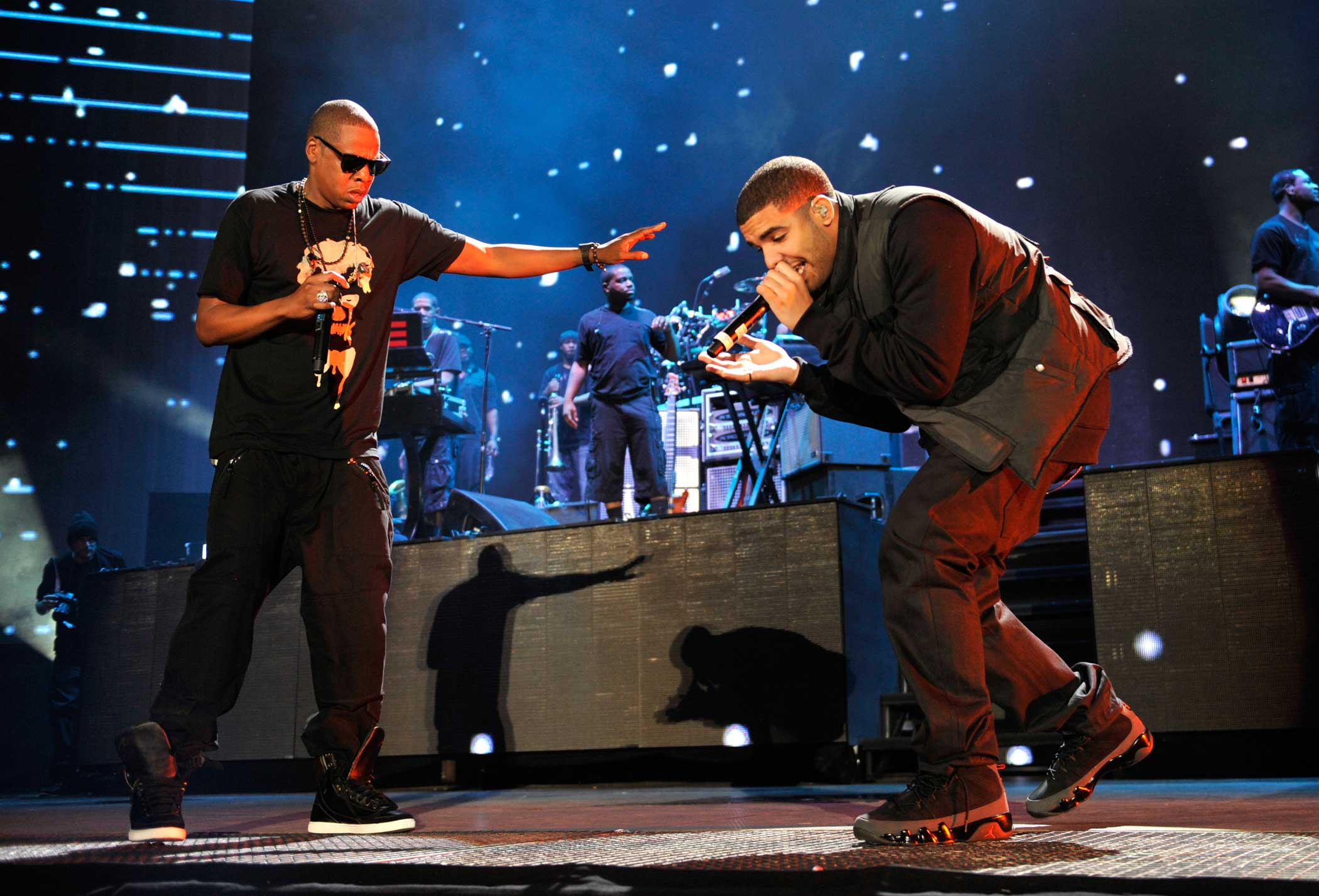 "Drake was featured on Jay Z's 2009 ""Off That,"" and Jay later appeared on Drake's ""Light Up"" (2010) and ""Pound Cake"" (2013)."