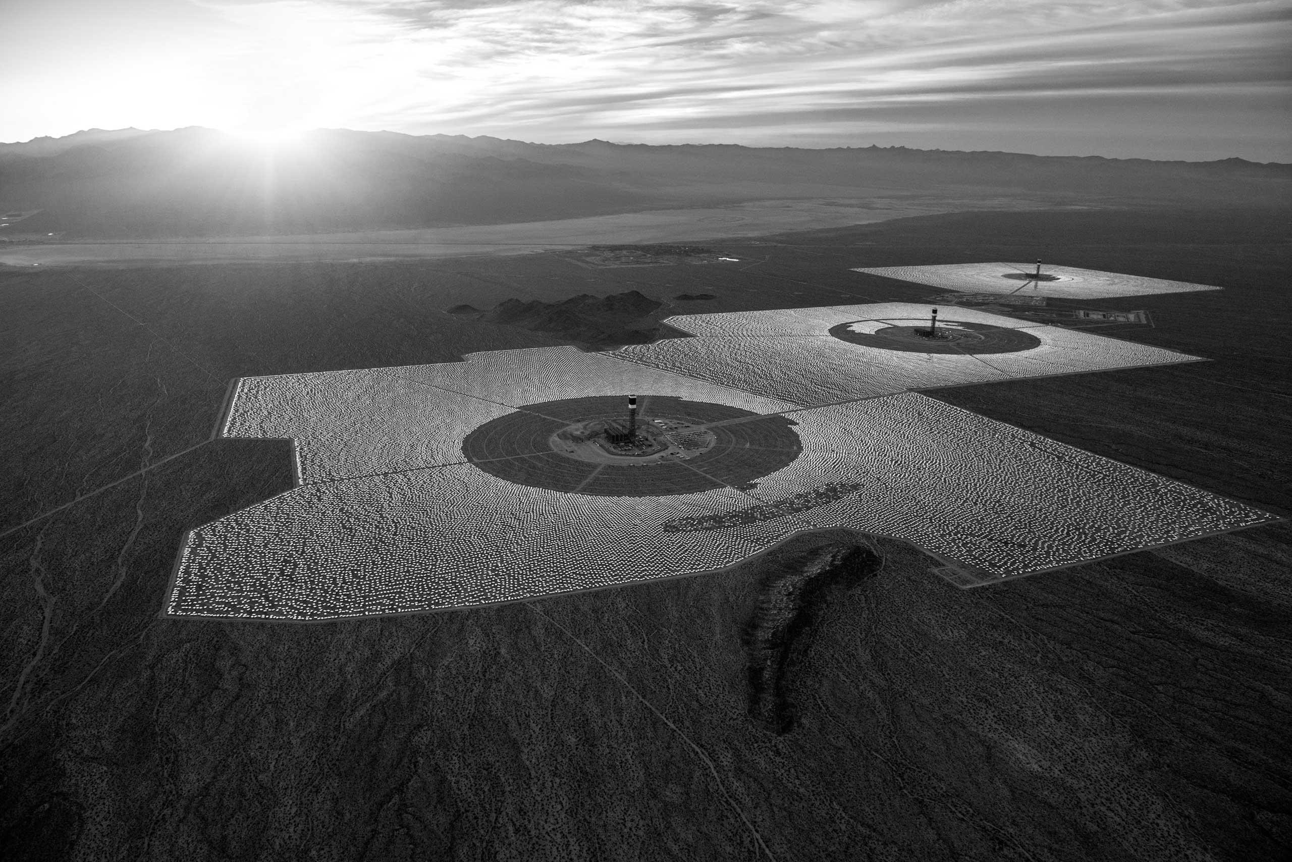 The Ivanpah solar power station in the Mojave Desert, California.