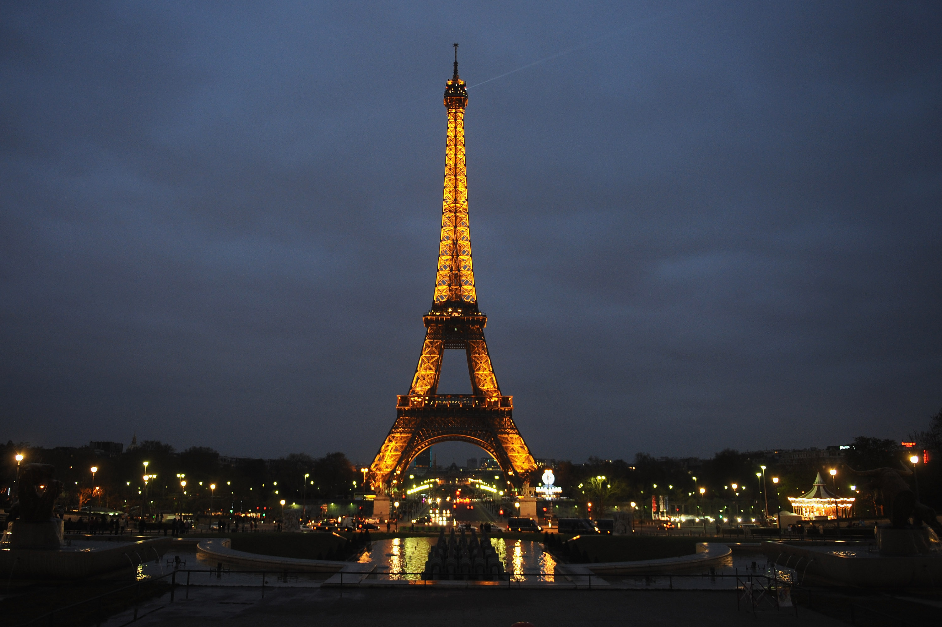 The Eiffel Tower is seen before the lights are switched off for Earth Hour 2012, on March 31, 2012 in Paris, France.