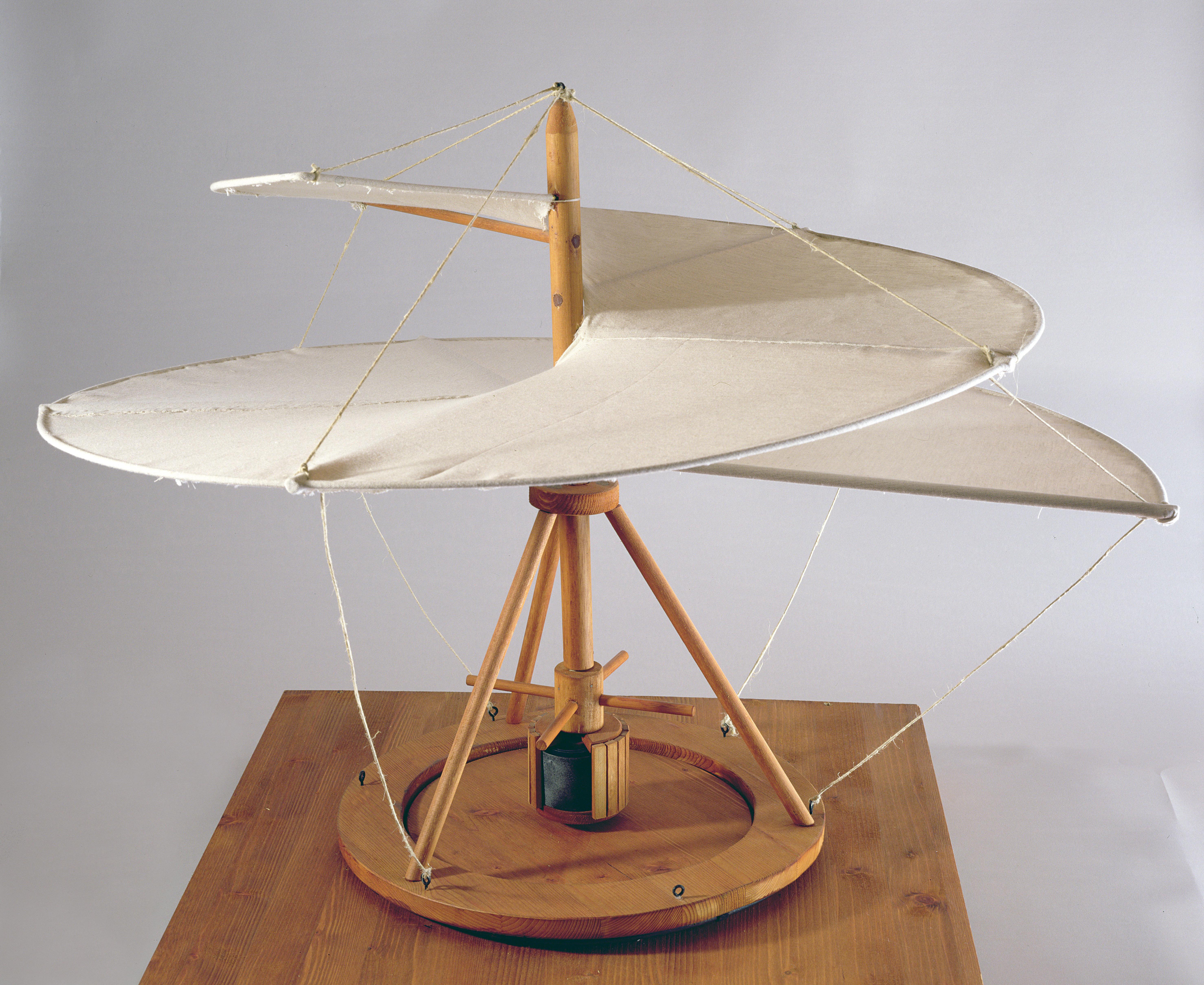 Model reconstruction of Leonardo da Vinci's design for an aerial screw.