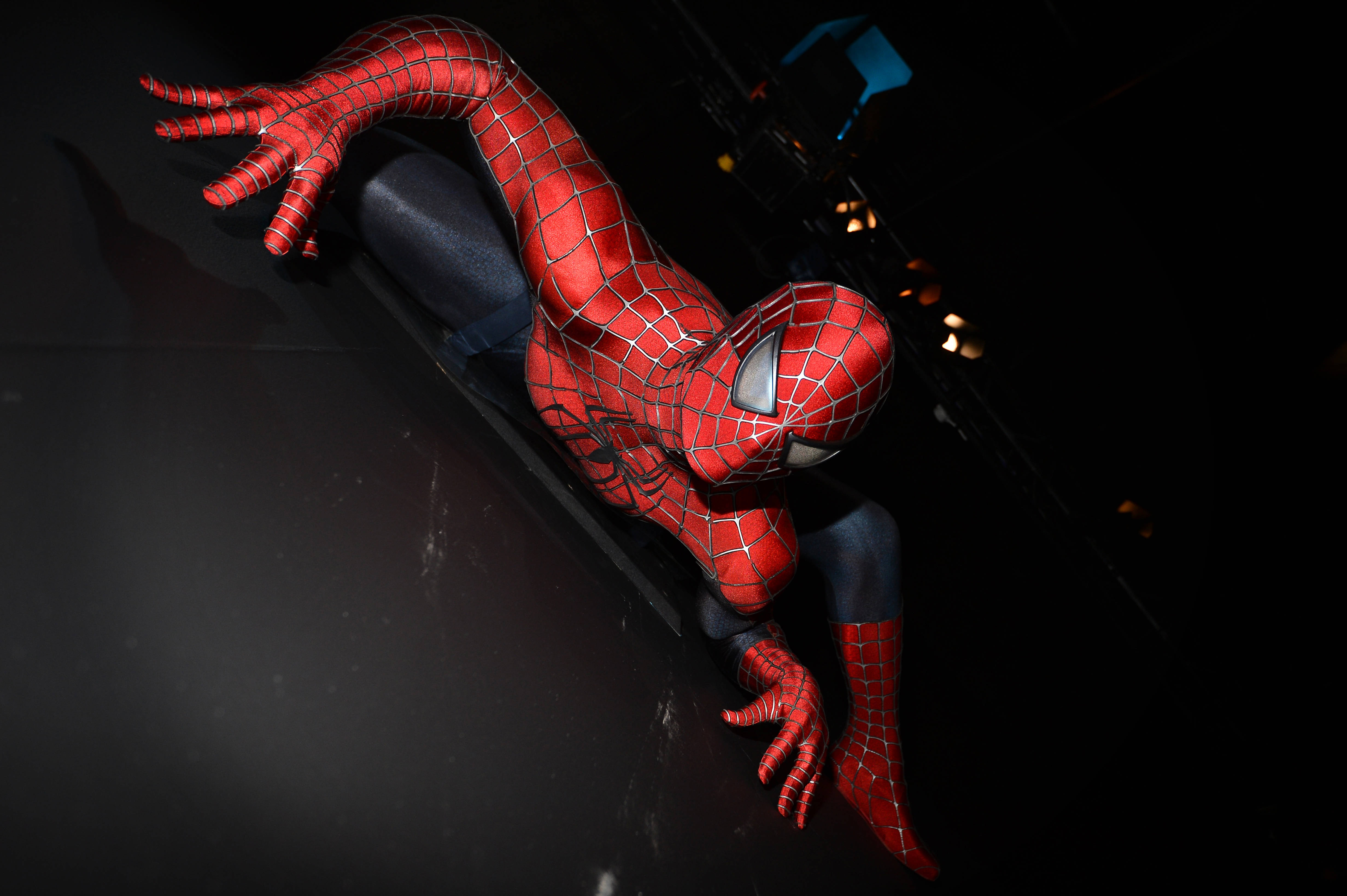 A costume worn by U.S. actor Tobey Maguire in the 2002 movie Spider-Man is displayed at the  Hollywood Costume  exhibition at the Victoria and Albert Museum in London on Oct. 17, 2012