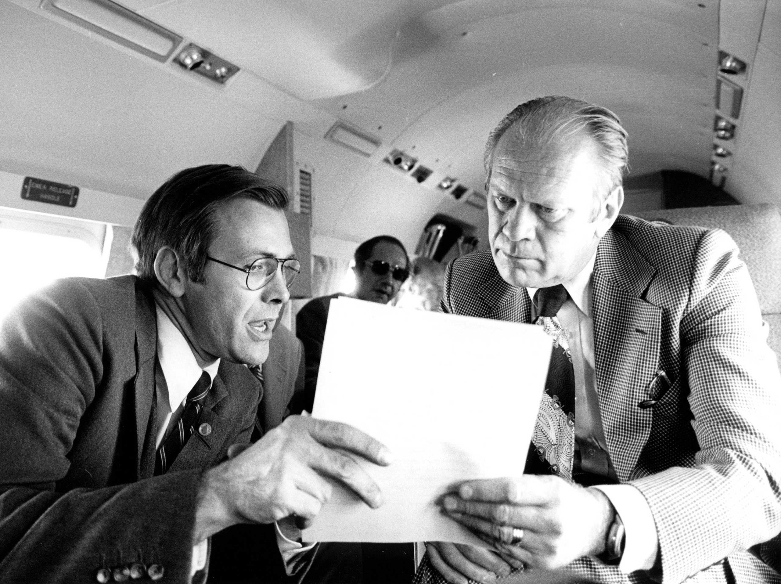 Freedom of Information Act, Ford, 1974 President Ford vetoed the Freedom of Information Act, which would make many classified records public, out of concern that it would endanger national security. But with the memory of the Watergate scandal still fresh, Congress voted overwhelmingly to override the veto. (Photo: Donald Rumsfeld and President Ford on Marine One in 1974.)