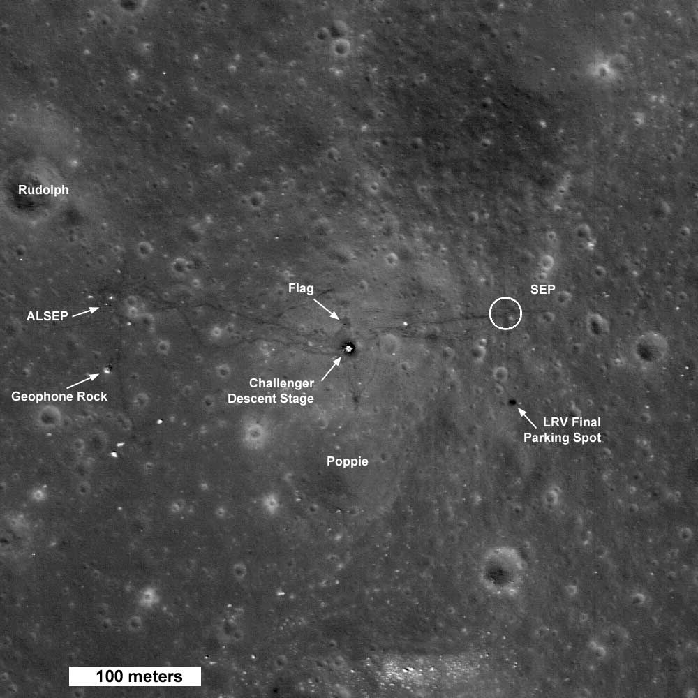 Where boots have tread: The Apollo 17 landing site, photographed by the Lunar Reconnaissance Orbiter, which revisited the moon in 2009. The lunar module descent stage, the lunar rover, scientific equipment and both footprints and tire tracks are visible.