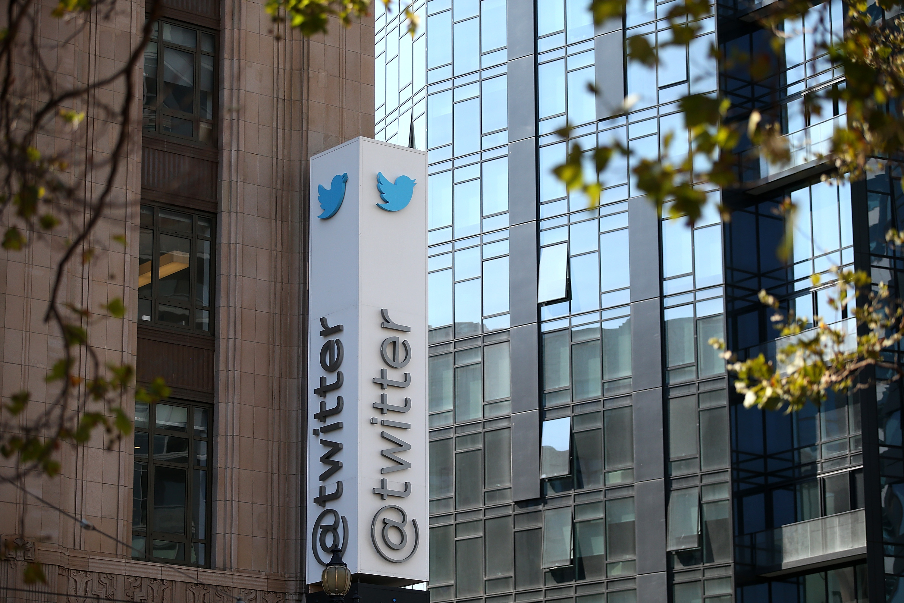 A sign is posted outside of the Twitter headquarters on July 29, 2014 in San Francisco, California.