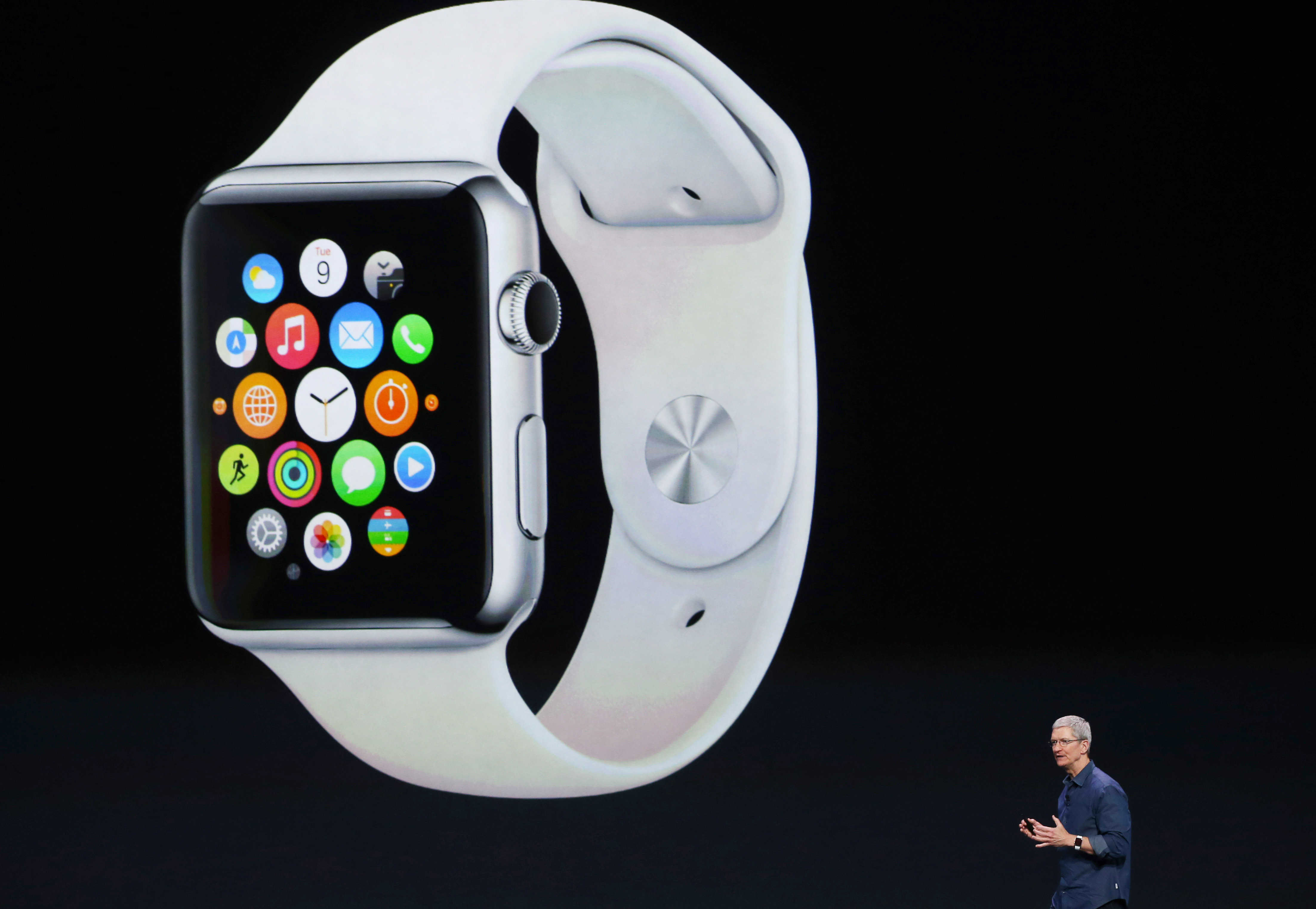 Apple CEO Tim Cook announces the Apple Watch at the Flint Center for the Performing Arts on September 9, 2014 in Cupertino, California.