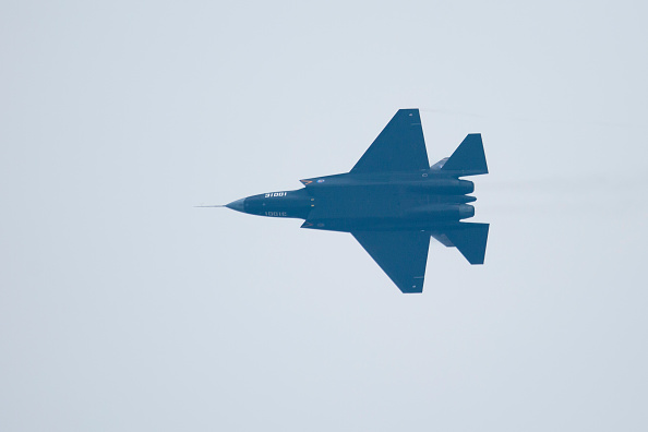 A Chinese J-31 stealth fighter aircraft performs at a Chinese air show last November.