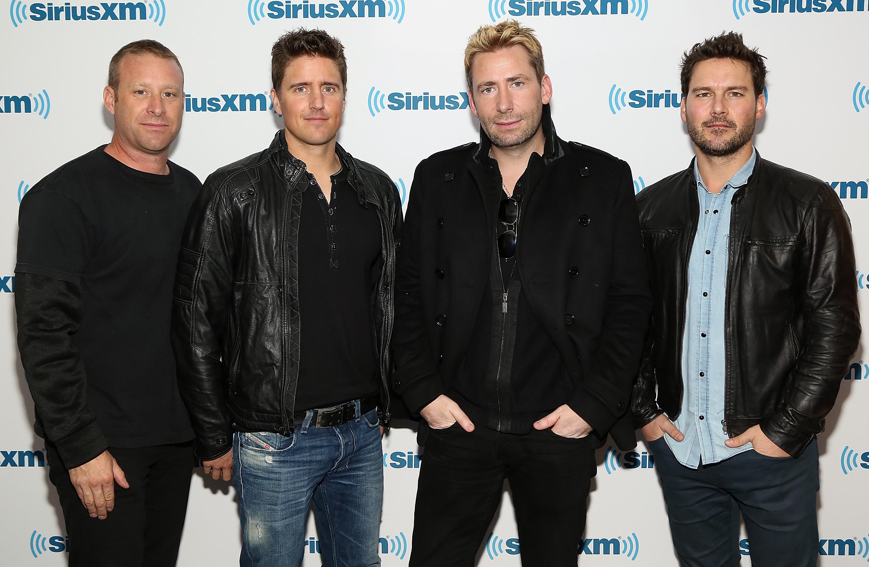 Nickelback musicians, from left, Mike Kroeger, Daniel Adair, Chad Kroeger and Ryan Peake visit SiriusXM Studios in New York City on Nov. 20, 2014