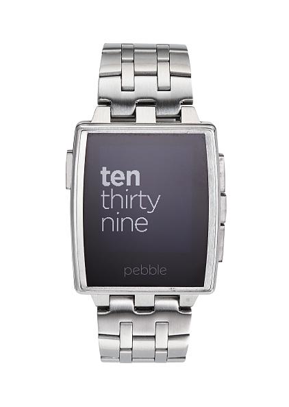A Pebble Steel smartwatch.