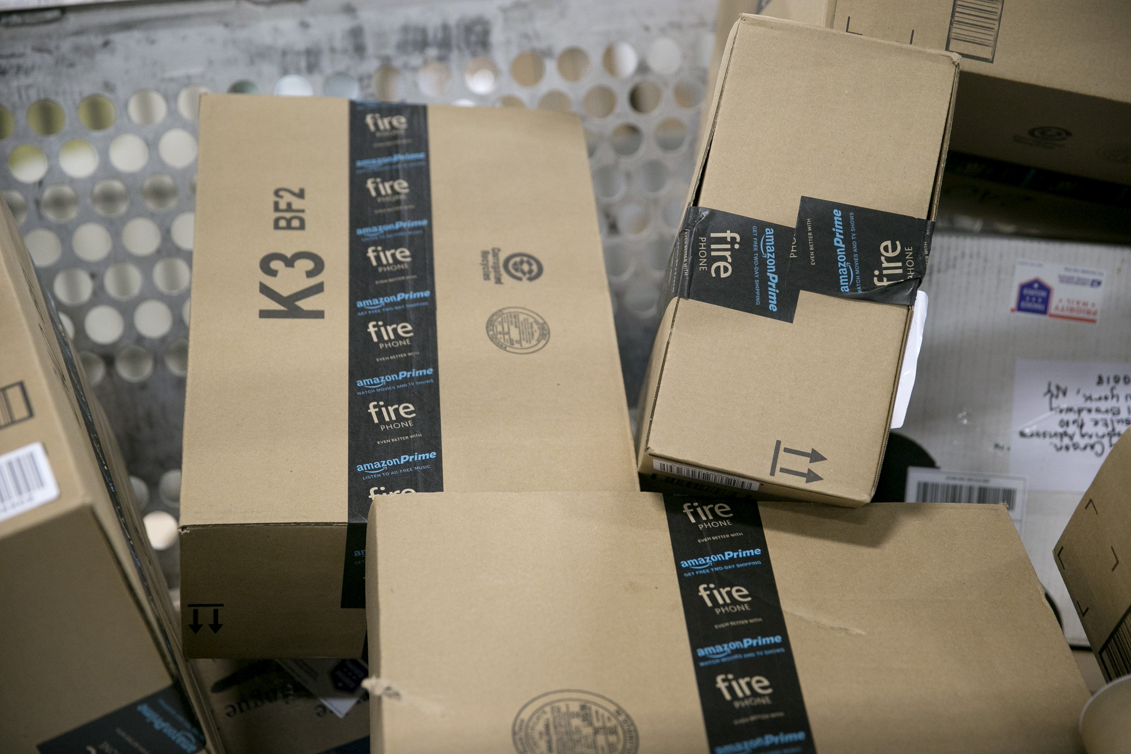 Amazon.com packages await shipment at the Indianapolis Mail Processing Annex Dec.15, 2014 in Indianapolis.