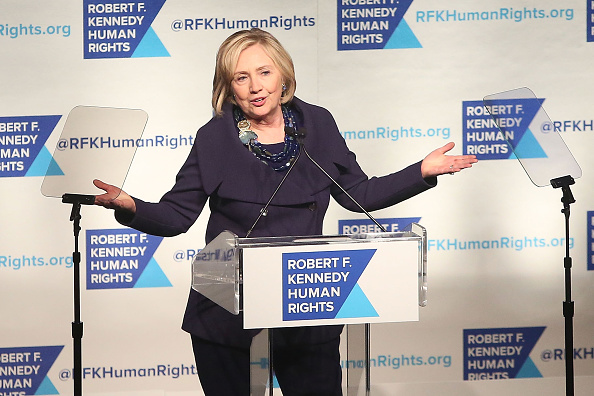Hillary Rodham Clinton speaks at the 2014 Robert F. Kennedy Ripple of Hope Gala at New York Hilton on Dec. 16, 2014, in New York City