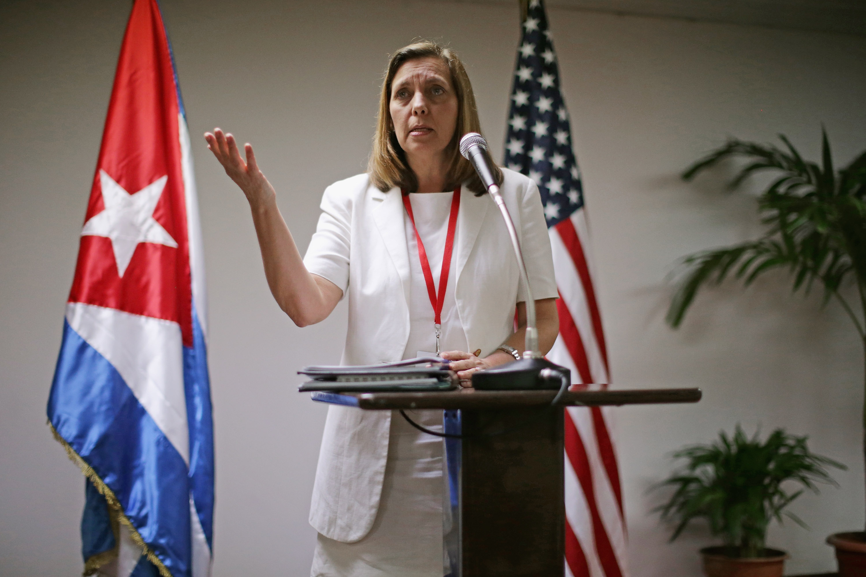 Cuban Foreign Ministry director for North America Josefina Vidal delivers brief remarks to the news media in Havana on Jan. 22, 2015