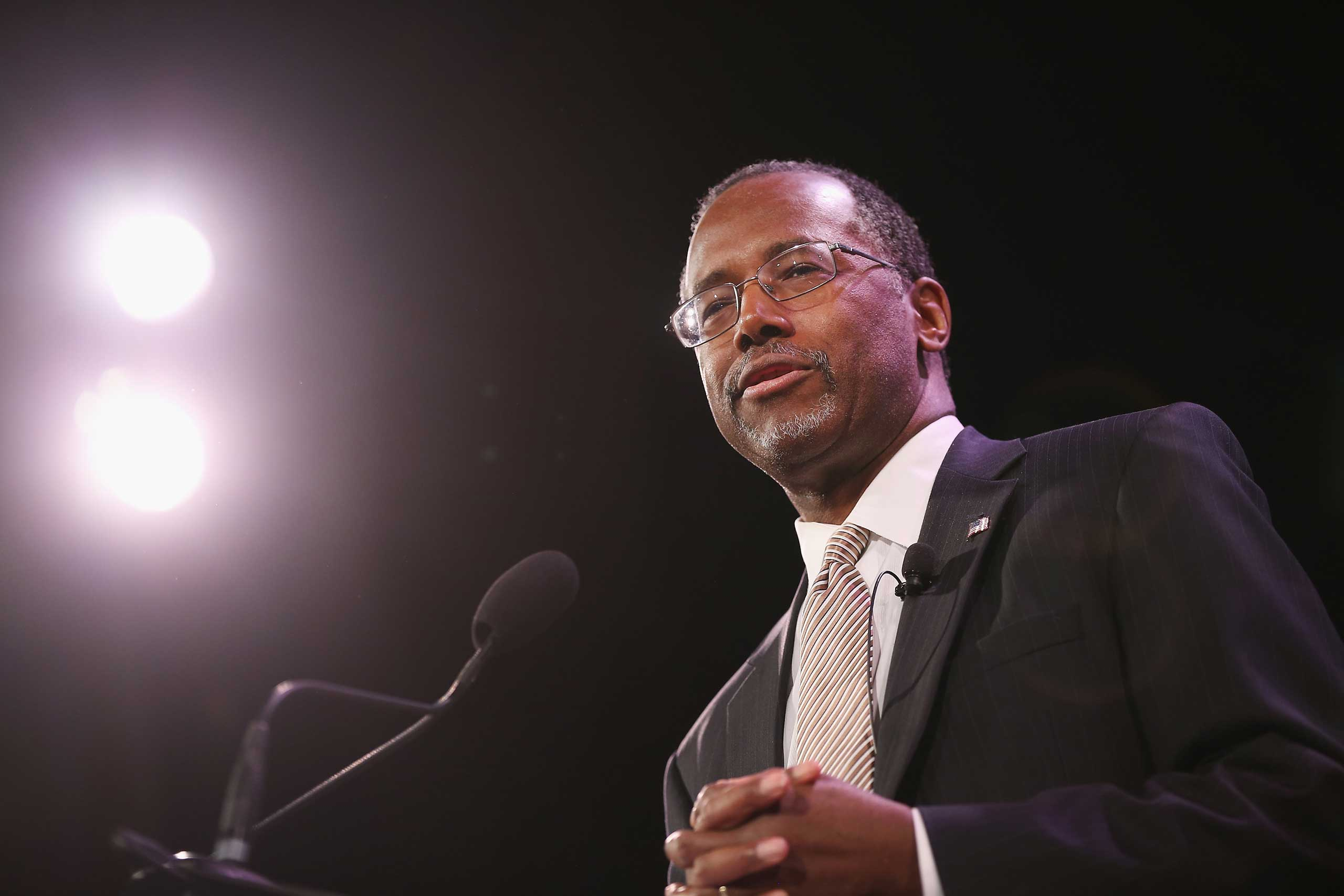 Dr. Ben Carson speaks to guests at the Iowa Freedom Summit on Jan. 24, 2015 in Des Moines, Iowa.