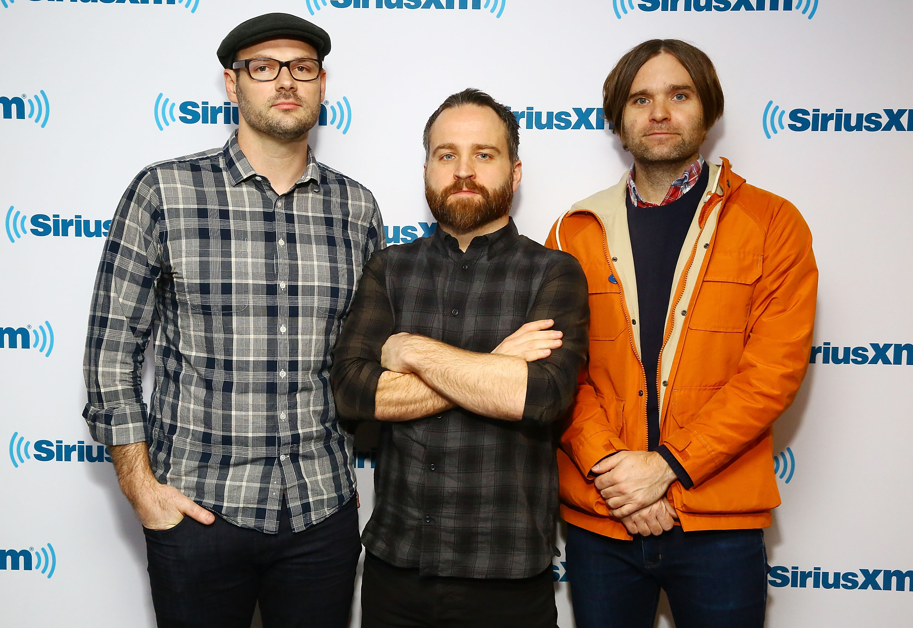 From left: Jason McGerr, Nick Harmer and Ben Gibbard of Death Cab For Cutie visit the SiriusXM Studios in New York City on jan. 28, 2015.