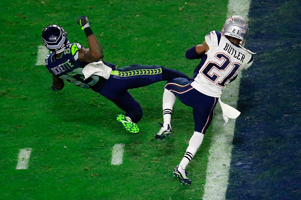 Malcolm Butler intercepts a pass by Russell Wilson intended for Ricardo Lockette late in the fourth quarter during Super Bowl XLIX at University of Phoenix Stadium in Glendale, Ariz., on Feb. 1, 2015