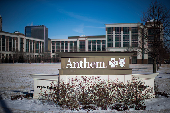 An exterior view of an Anthem Health Insurance facility in Indianapolis on Feb. 5, 2015