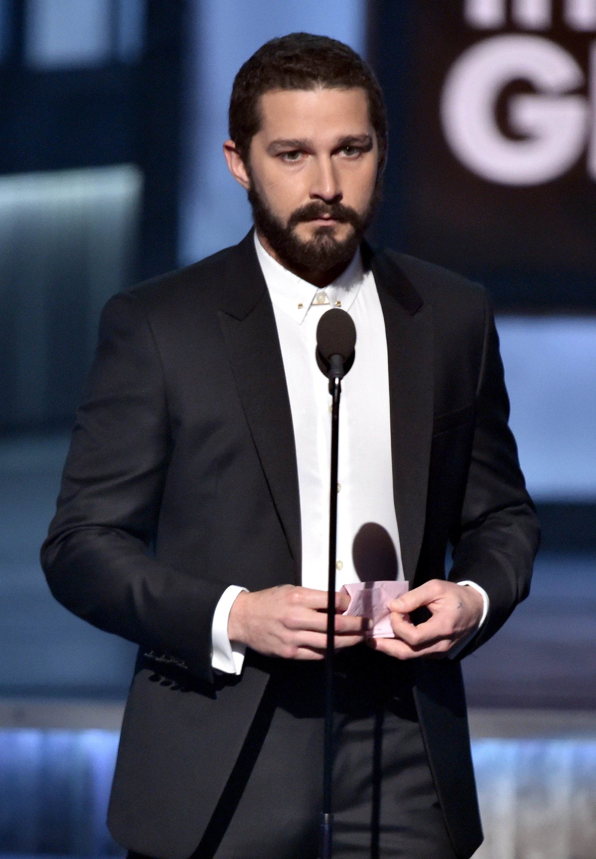 Actor Shia LaBeouf speaks onstage during The 57th Annual GRAMMY Awards at the STAPLES Center on February 8, 2015 in Los Angeles, California.  (Photo by Kevin Winter/WireImage)