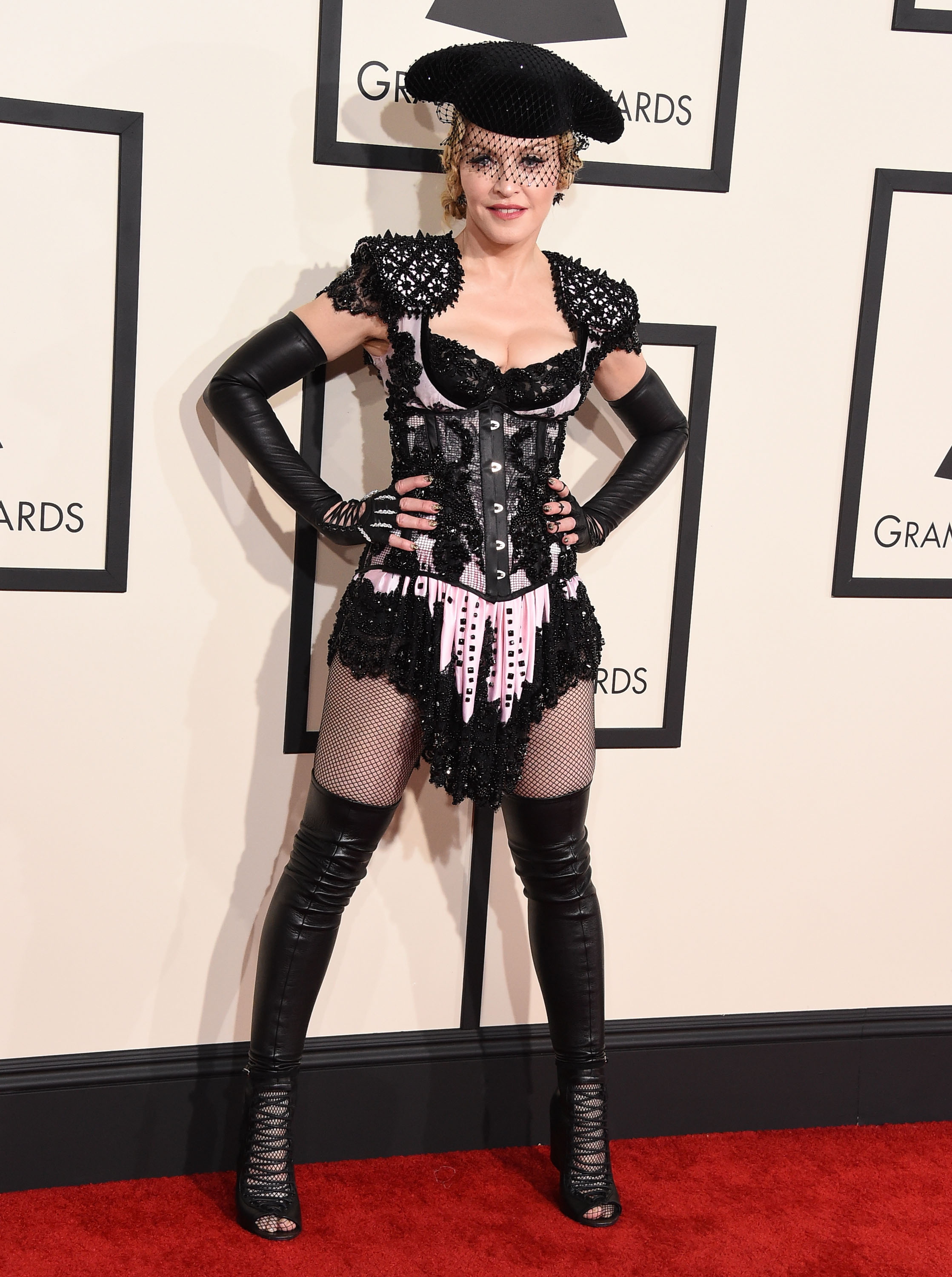 Madonna arrives at the The 57th Annual GRAMMY Awards in Los Angeles on Feb. 8, 2015.