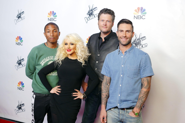 (L-R) Pharrell Williams, Christina Aguilera, Blake Shelton, Adam Levine pose for  The Voice - Season 8.