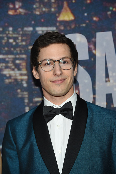 SATURDAY NIGHT LIVE 40TH ANNIVERSARY SPECIAL -- Pictured: Andy Samberg walk the red carpet at the SNL 40th Anniversary Special at 30 Rockefeller Plaza in New York, NY on February 15, 2015 -- (Photo by: Jamie McCarthy/NBC/NBCU Photo Bank via Getty Images)