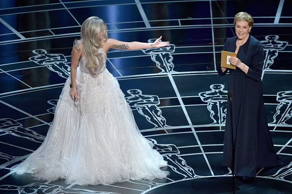 Lady Gaga introduces Julie Andrews on stage during the 87th Annual Academy Awards at Dolby Theatre in Los Angeles on Feb. 22, 2015
