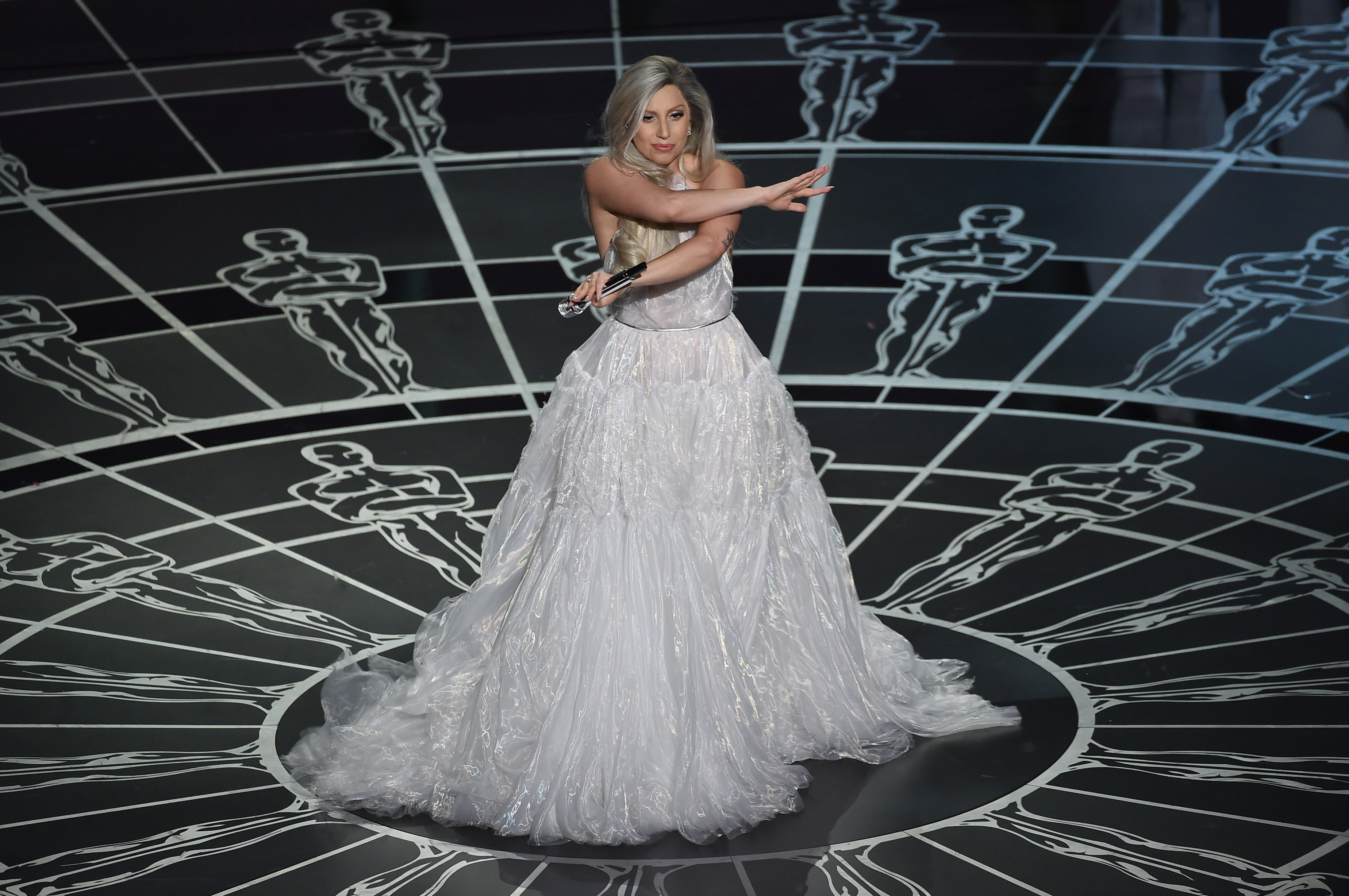 Lady Gaga performs onstage during the 87th Annual Academy Awards at Dolby Theatre on February 22, 2015 in Hollywood, California.