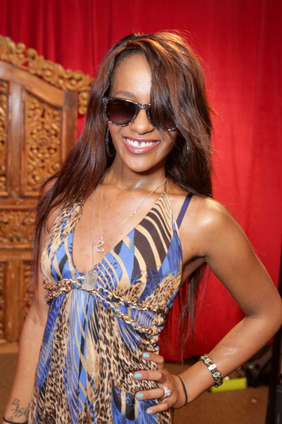 Bobbi Kristina Brown wearing Carrera by Jimmy Choo sunglasses with the Solstice Sunglasses and Safilo USA display at the Grammy Gift Lounge during the 56th Grammy Awards at Staples Center on Jan. 25, 2014, in Los Angeles