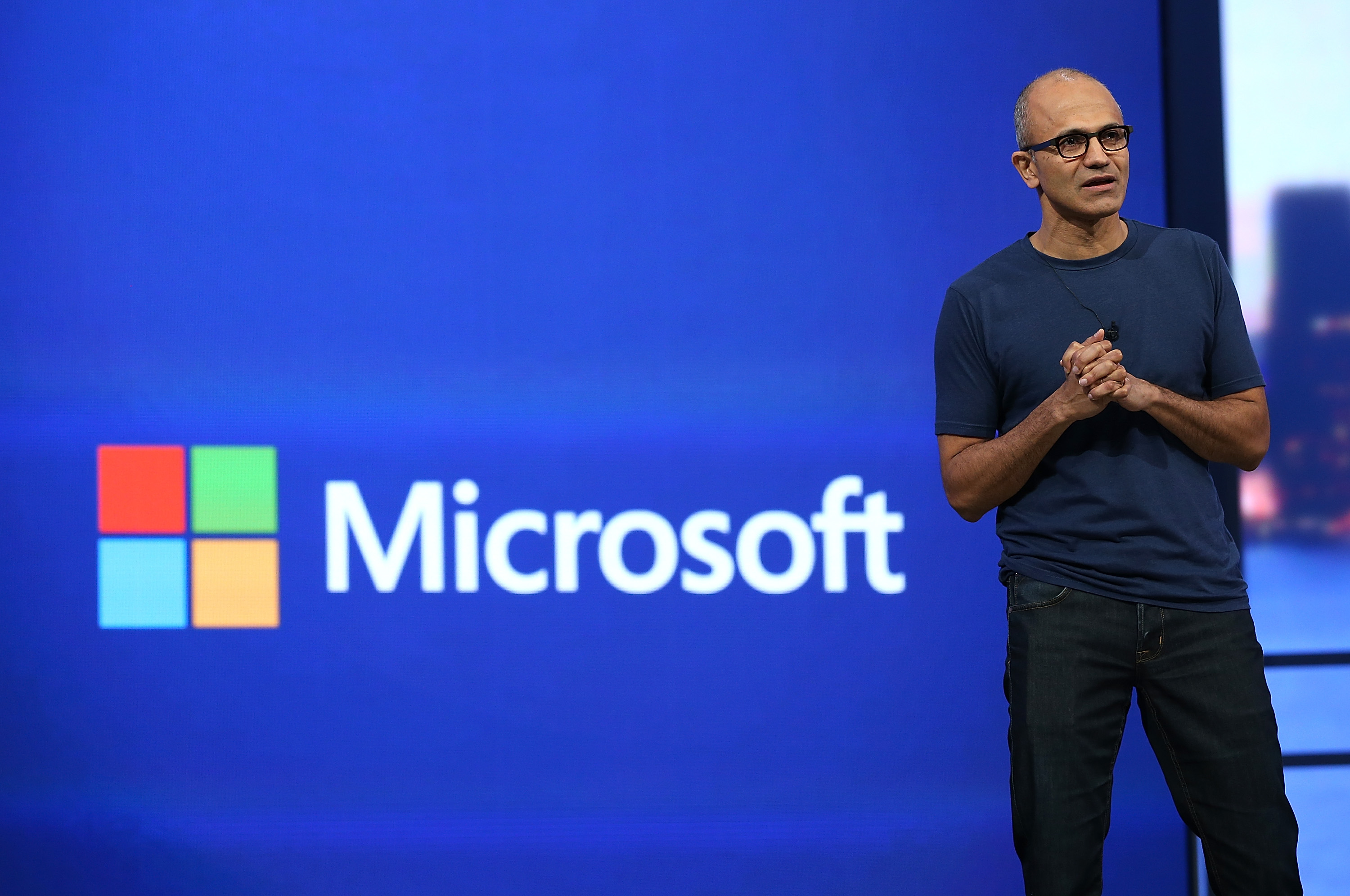 Microsoft CEO Satya Nadella delivers a keynote address during the 2014 Microsoft Build developer conference on April 2, 2014 in San Francisco, California.