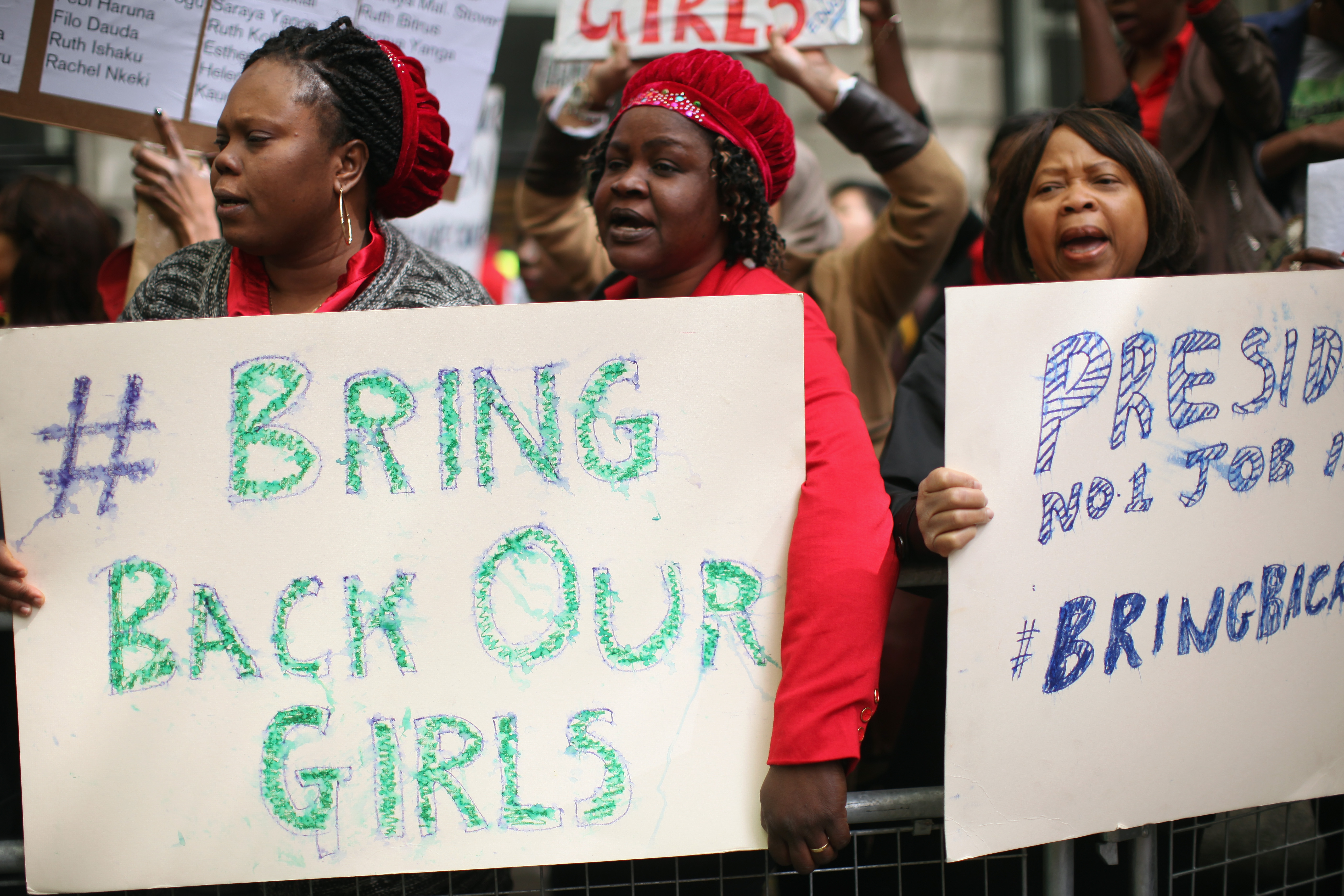 Protesters calling for the release of a group of abducted Nigerian schoolgirls gather outside Nigeria House on May 9, 2014 in London, England.   ( Dan Kitwood--Getty Images)