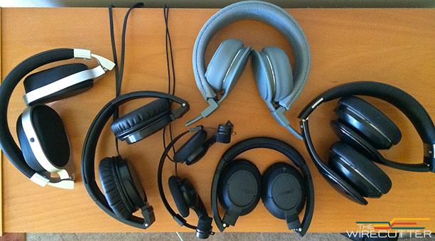 Left to right: KEF M500, Beyerdynamic 350p, Koss SportaPro, UrbanEars Plattan ADV (grey, top), Bose Sound True (black, below), Samsung Level On.