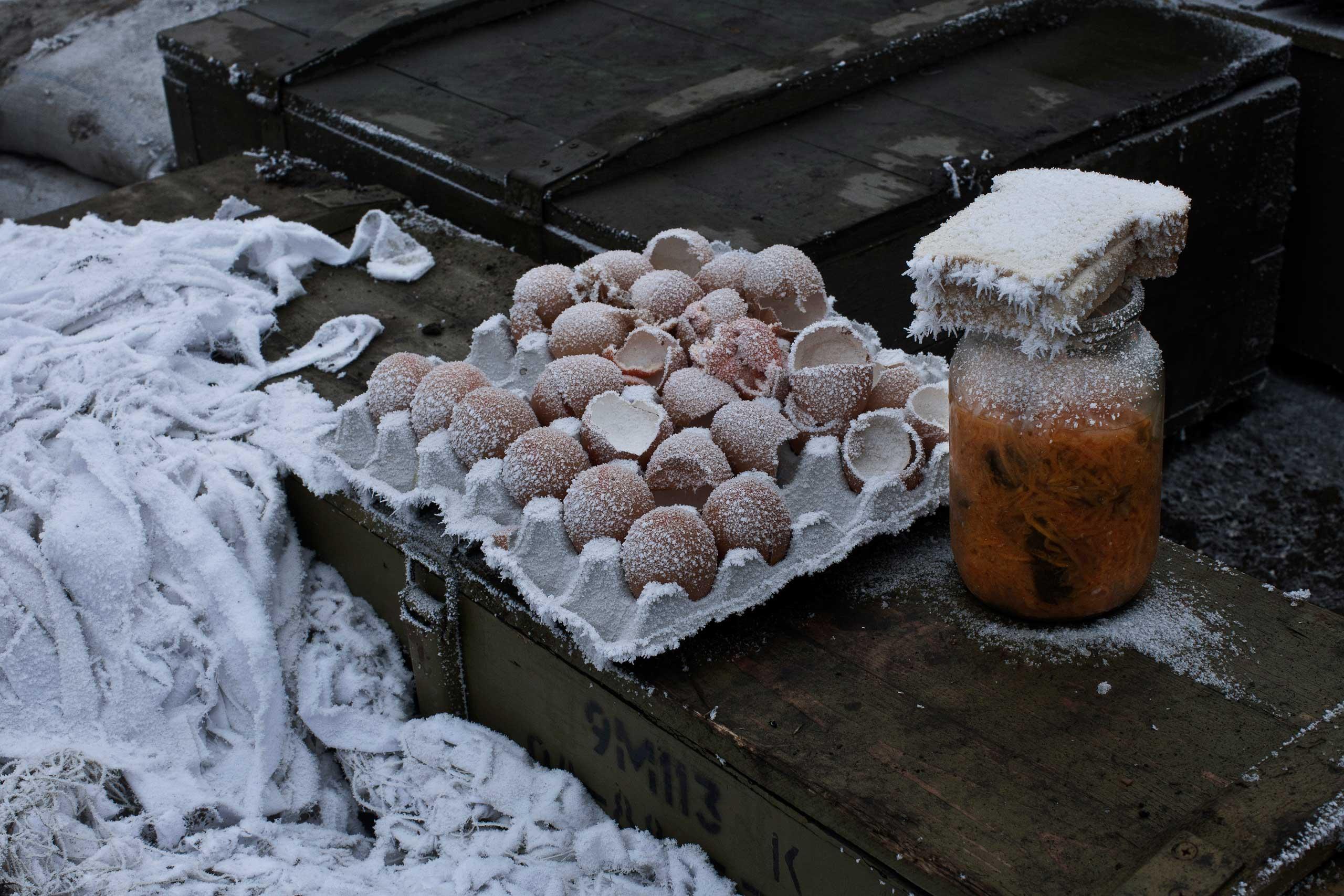 Freezing weather has left food frozen, in Artemivsk, Ukraine, Feb. 15, 2015.
