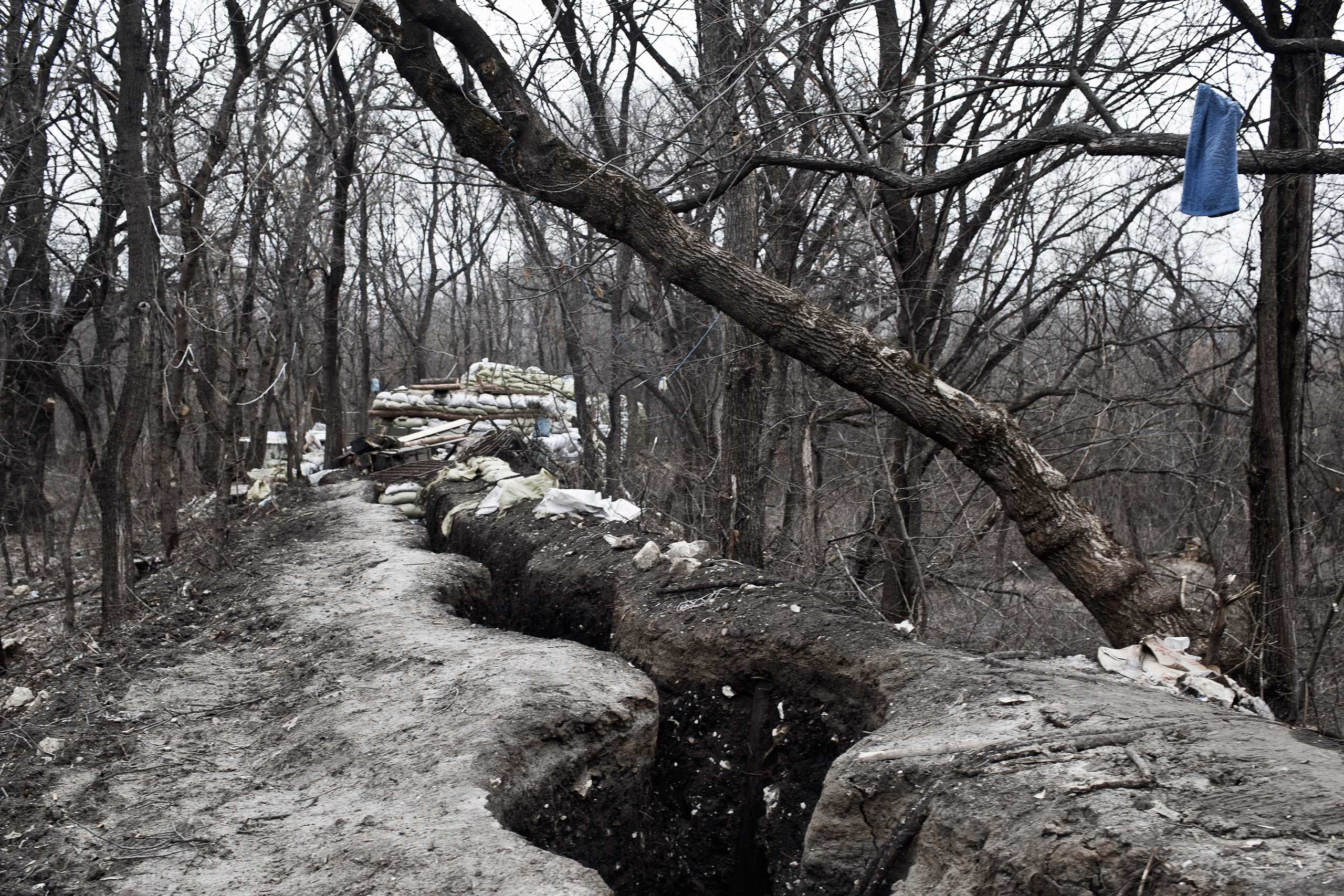 A frontline trench in Shastya, eastern Ukraine, where fighting was ongoing between Ukrainian military and volunteer fighters against the Russian supported forces of the breakaway Luhansk People's Republic, Feb. 8, 2015.