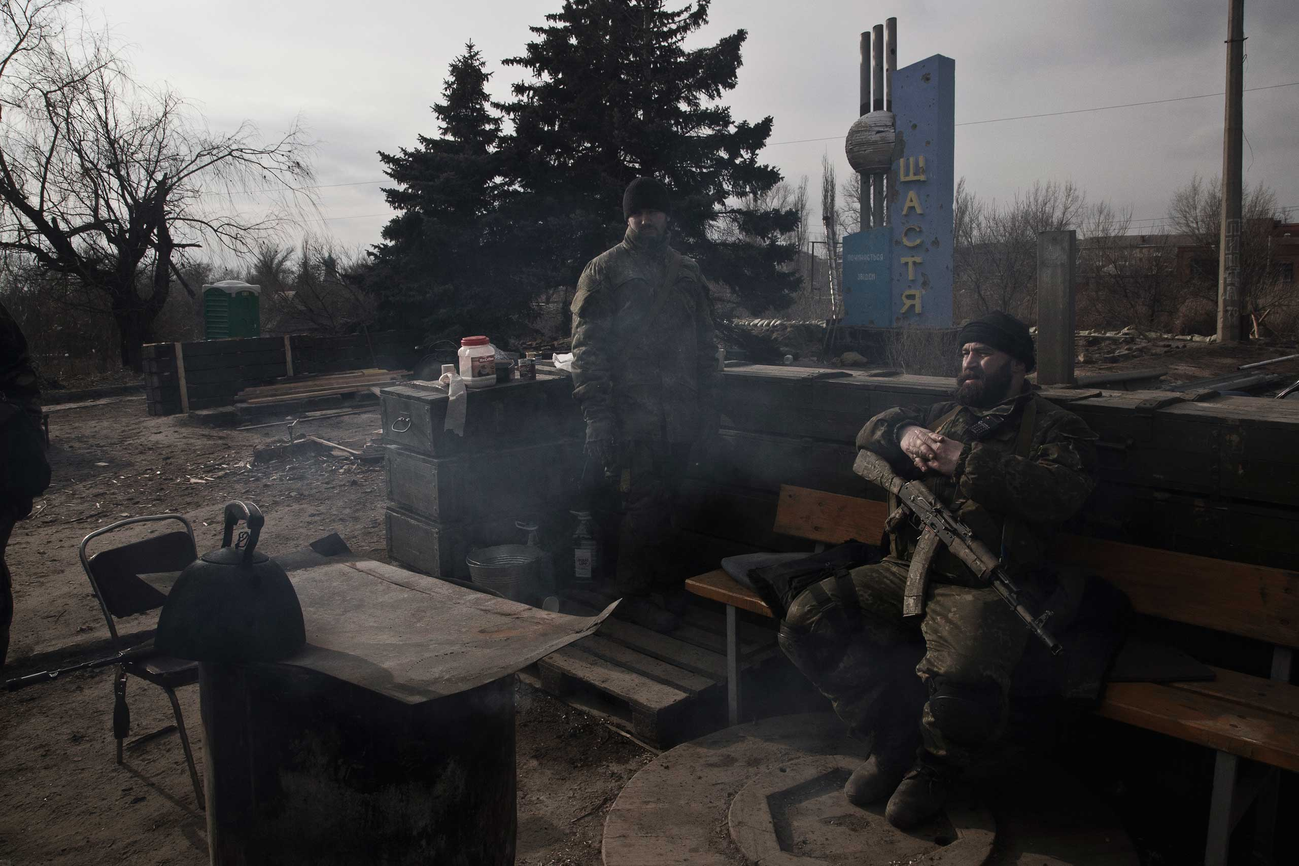 Troops belonging to the Ukrainian Army and the Aidar battalion, a volunteer fighting unit, rest in the town of Shastya, Ukraine. Shastya means  happiness.  Once a picturesque town of 13,000 in Luhansk Oblast, Shastya has become the frontline between Ukrainian forces and the forces of the breakaway Luhansk People's Republic.