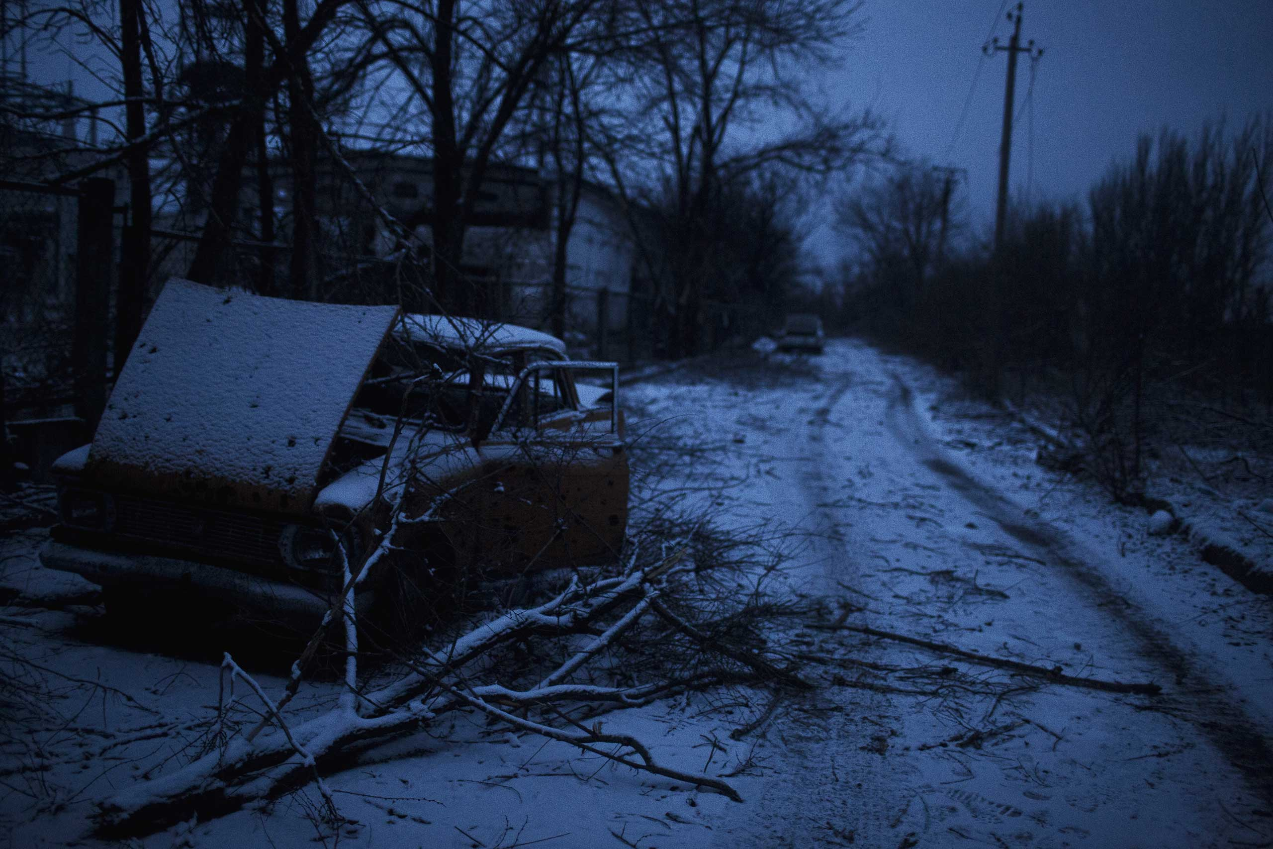 Dusk scenes along the front in Pisky, Ukraine, Feb. 10, 2015.