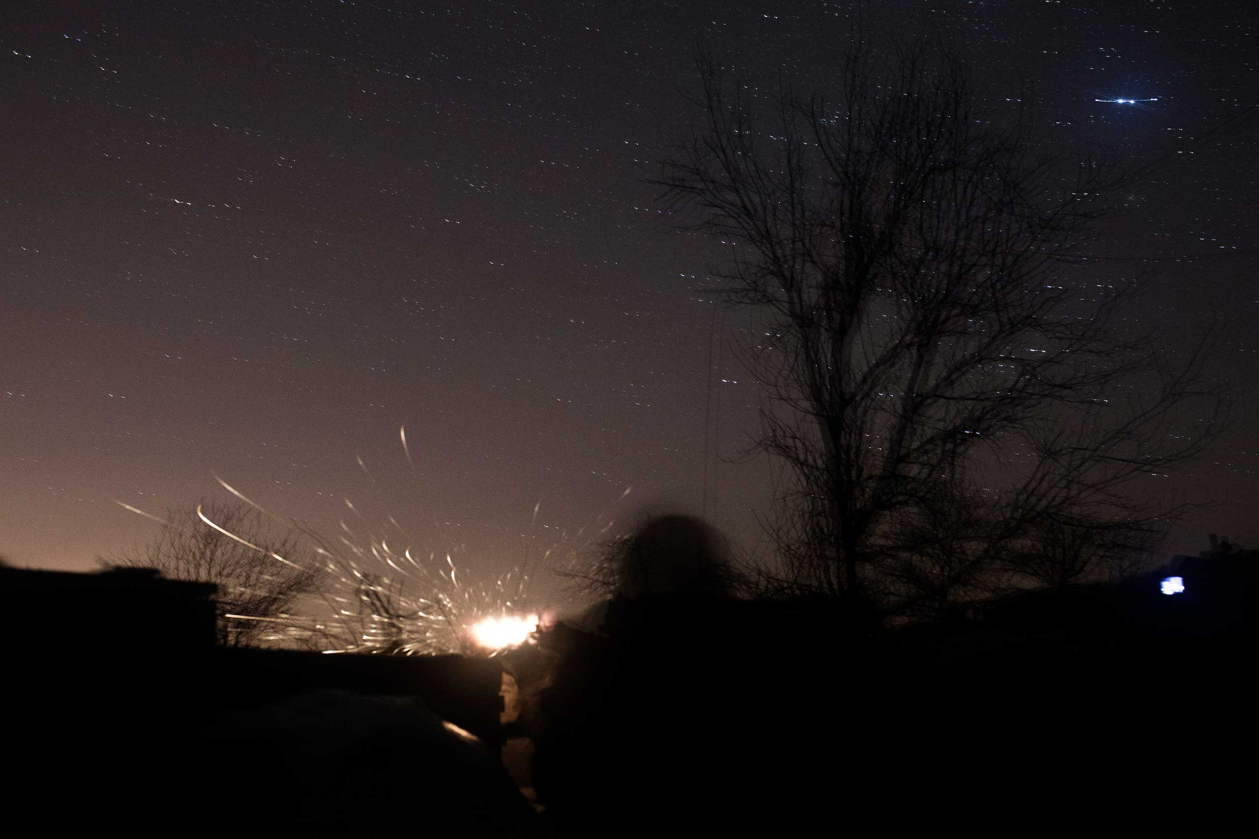 Artillery and shelling are constant on the front line in Pisky, Ukraine, Feb. 12, 2015.