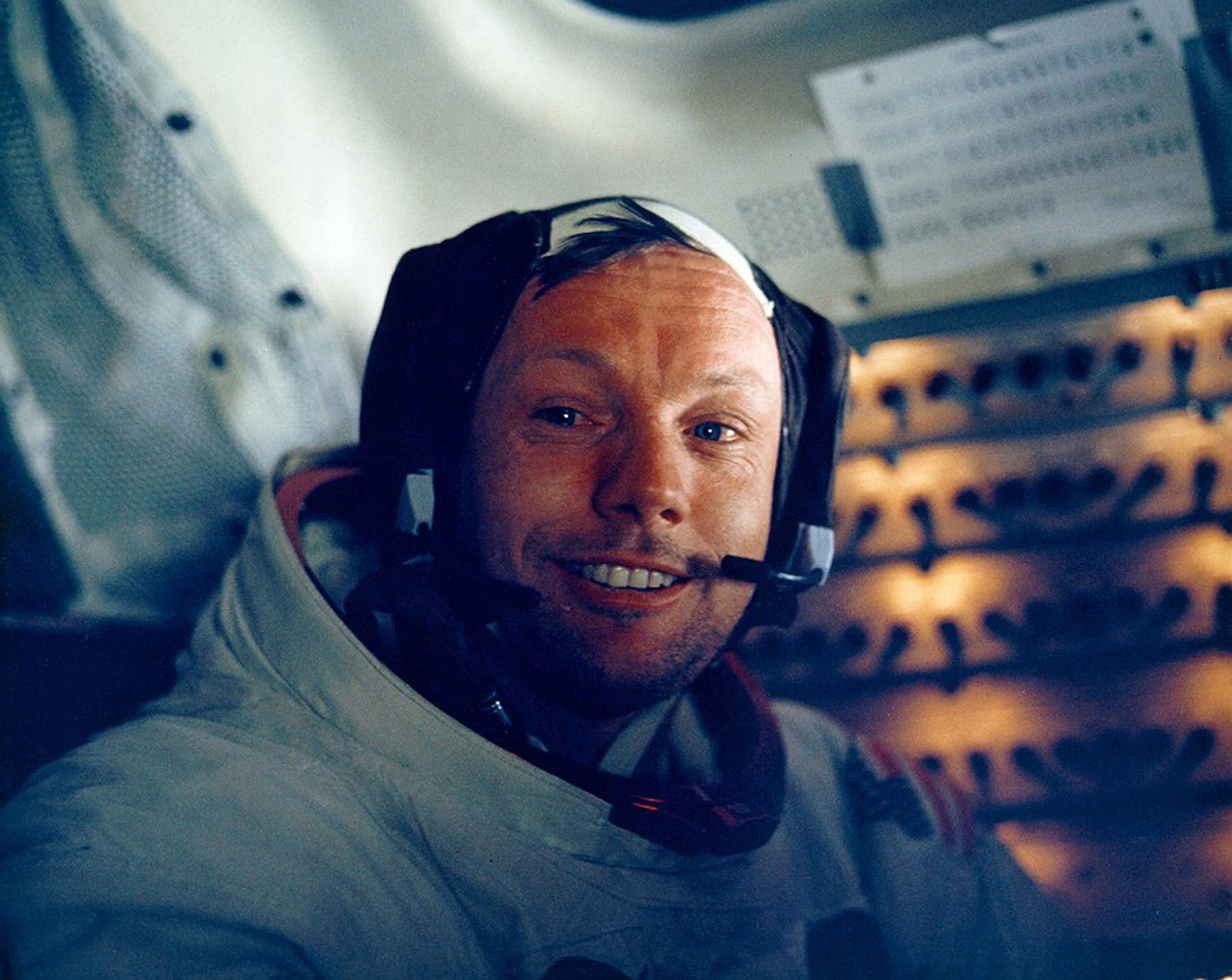 Astronaut Neil Armstrong smiles inside the Lunar Module on July 20, 1969.