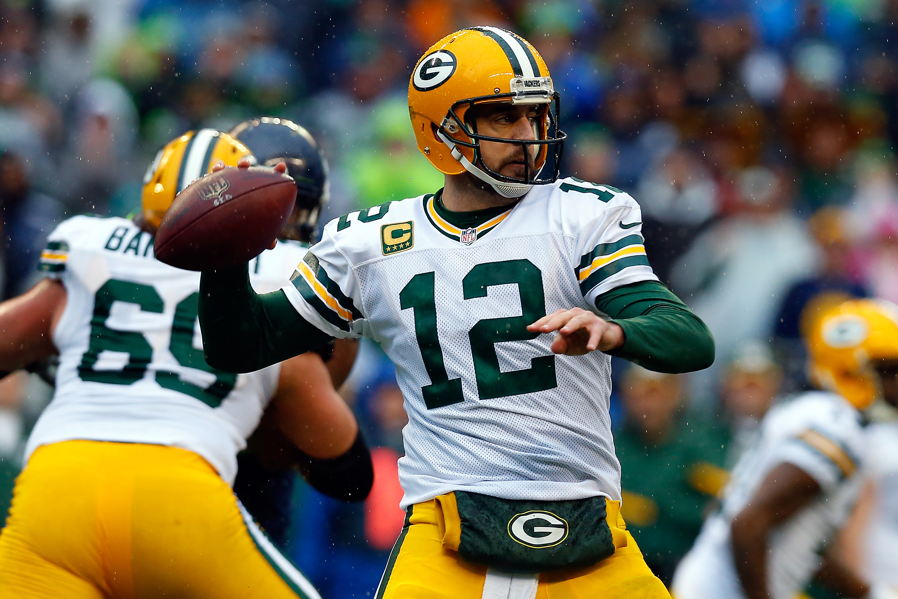 Aaron Rodgers during the 2015 NFC Championship game at CenturyLink Field on Jan. 18, 2015 in Seattle.