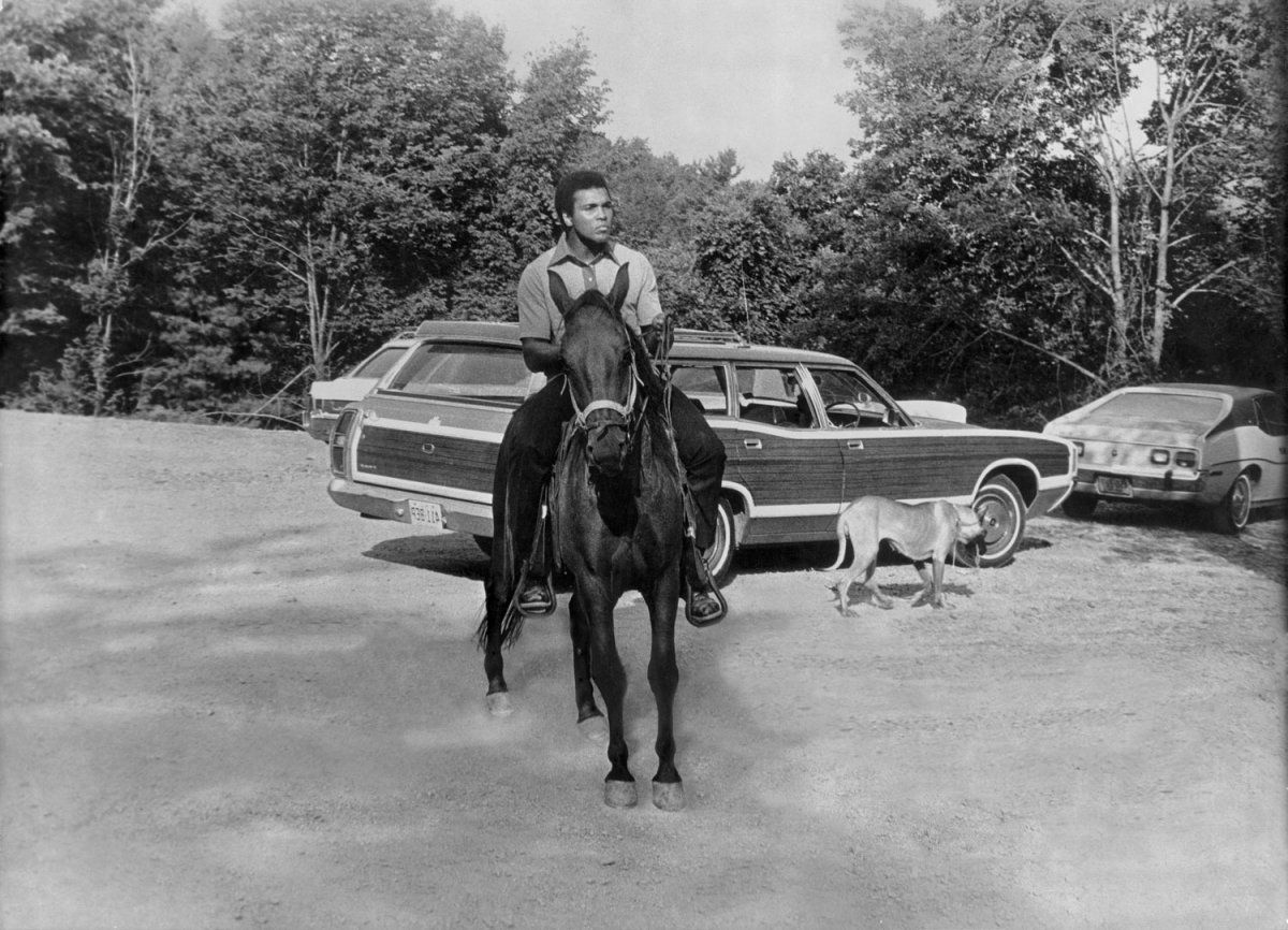 Ali on horseback in Deer Lake, Pa., 1974                               Anton Perich:   When I took this picture of Ali on a horse, it brought back a mythical experience from my childhood. In the little chapel in my village, there was an altarpiece depicting St. George on horseback, slaying the dragon. In front of Ali, I was so moved — the champion had the dignity, elegance, strength and beauty of the saint. Ali's horse, like St. George's, lacked none of that. It was a majestic moment, when reality meets mythology.  Anton Perich is a filmmaker and photographer.