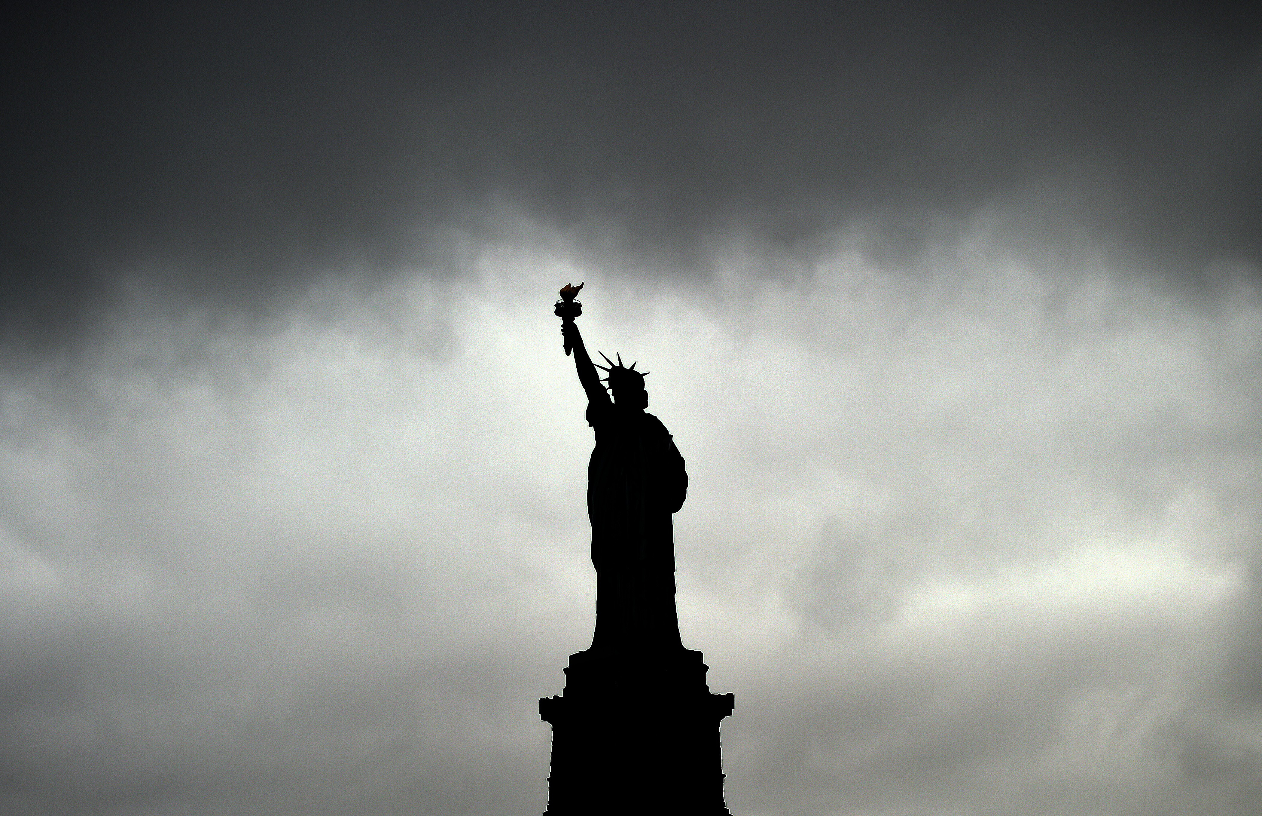 The State of Liberty is pictured during a rainy day on Oct. 16, 2014 in New York.
