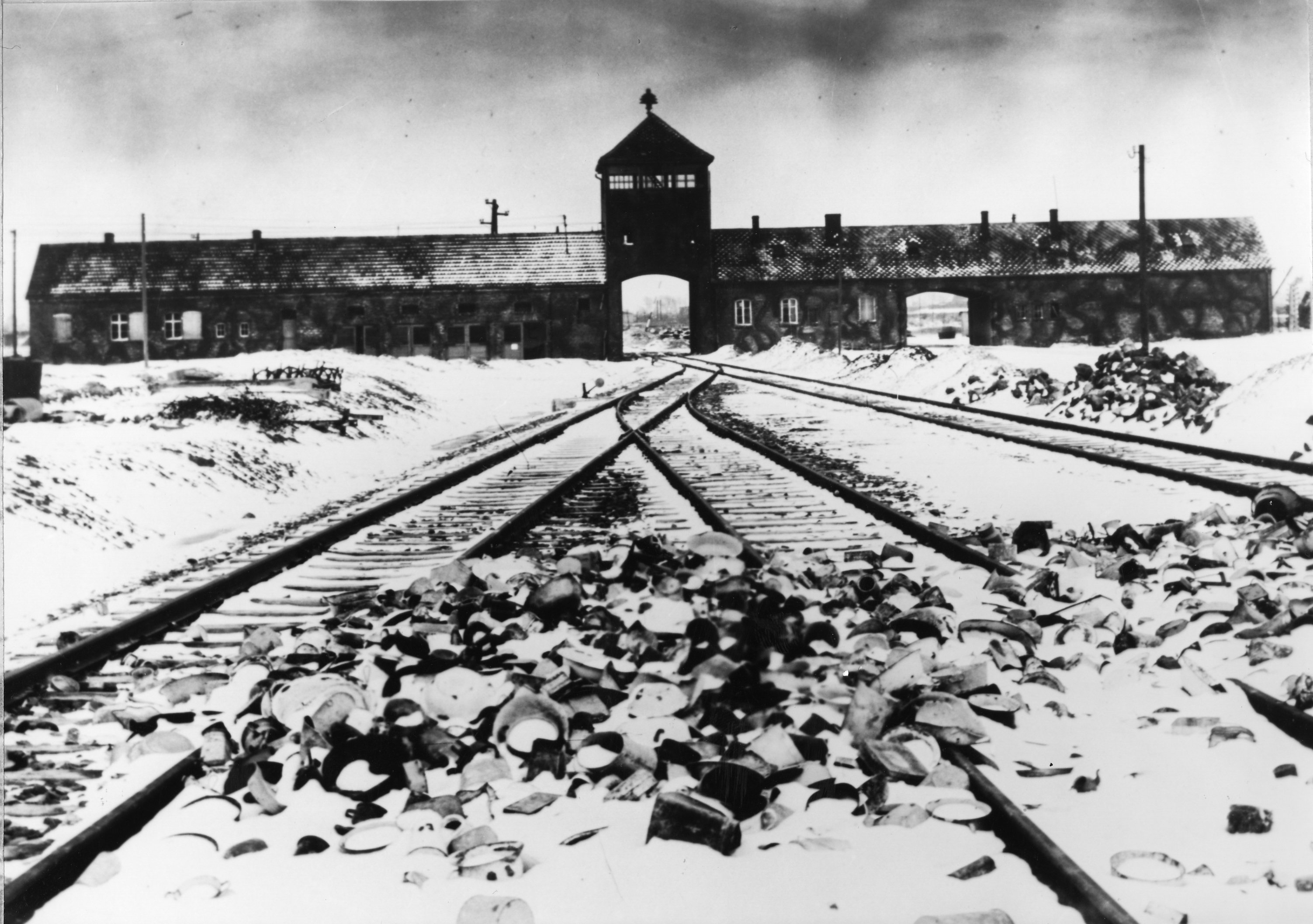 Entry to the concentration camp Auschwitz-Birkenau, Poland, in February/March 1945