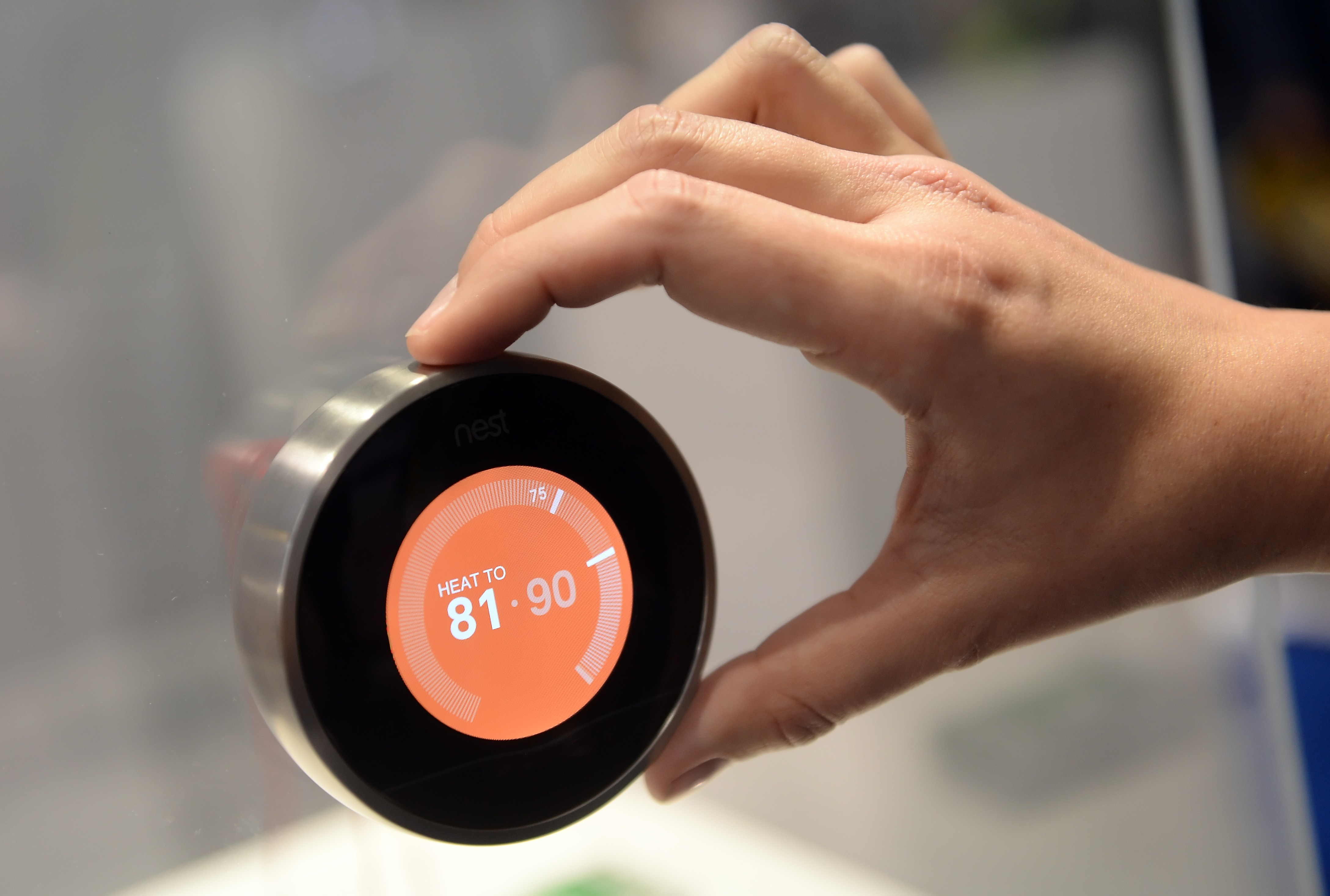 A thermostat from 'Nest' displayed at Consumer Electronics Show in Las Vegas on Jan. 8, 2015.