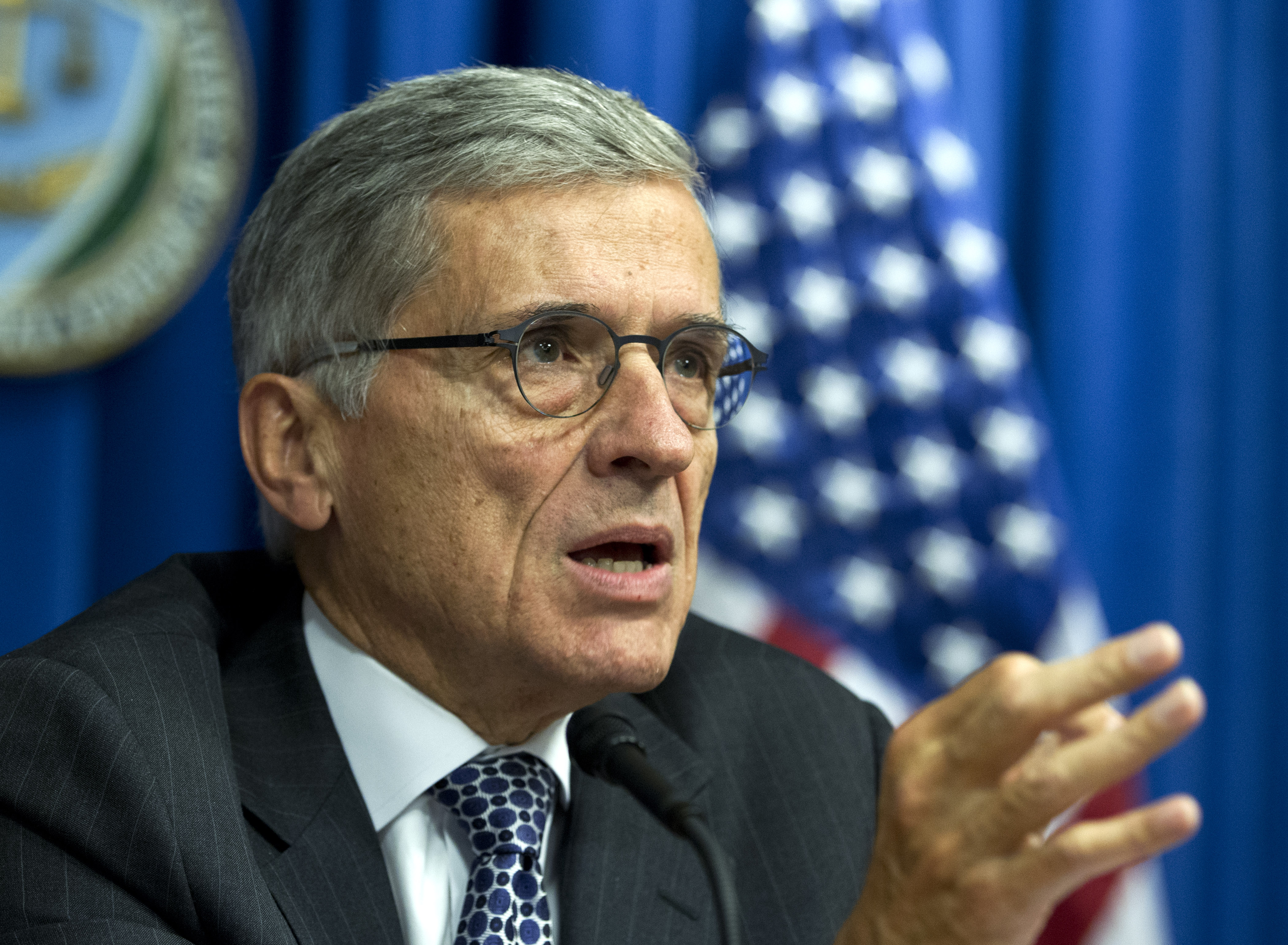 Federal Communications Commission (FCC) Chairman Tom Wheeler speaks during new conference in Washington on Oct. 8, 2014.