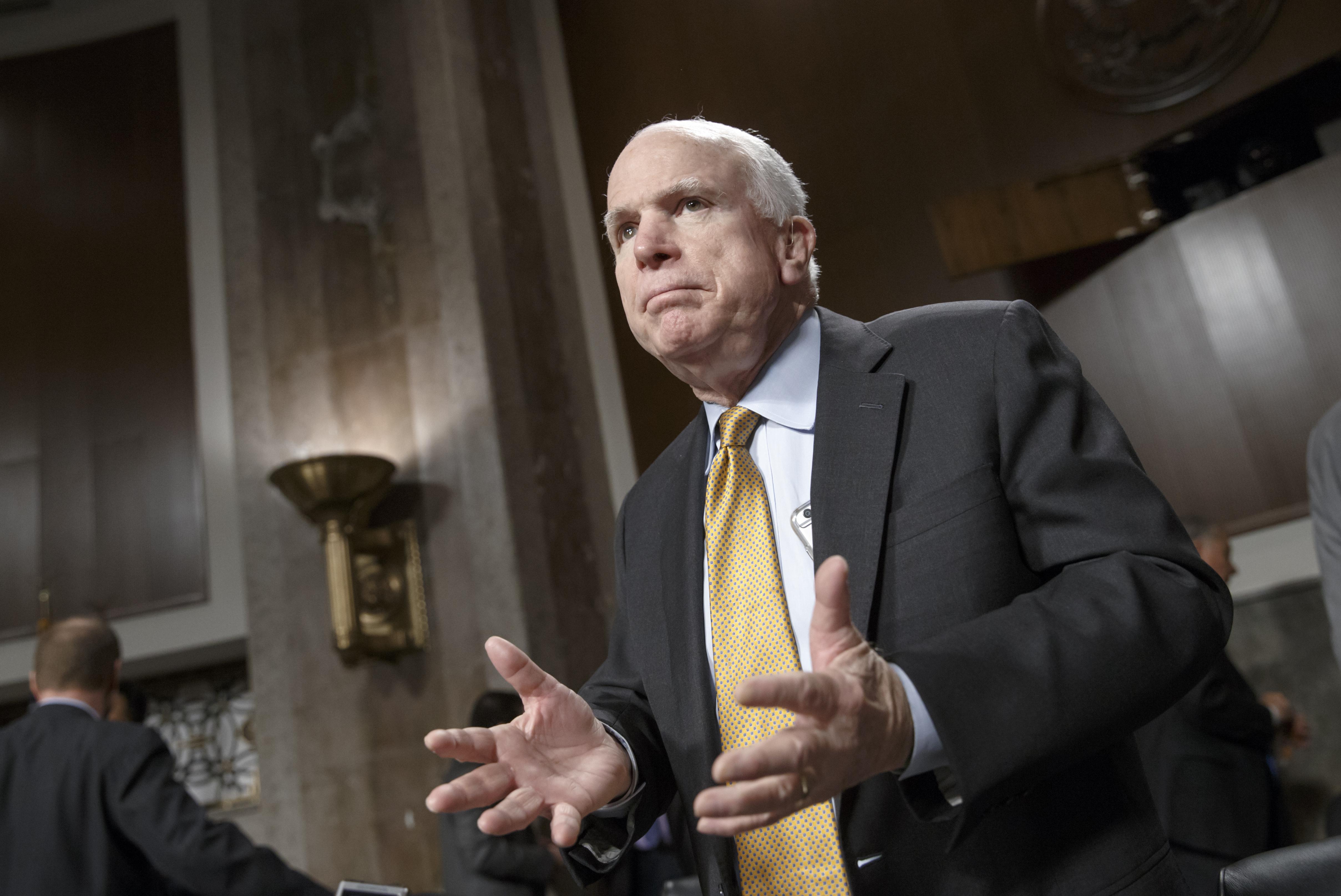 Senate Armed Services Committee Chairman Sen. John McCain (R-Ariz.) on Capitol Hill in Washington, Wednesday, Feb. 4, 2015.