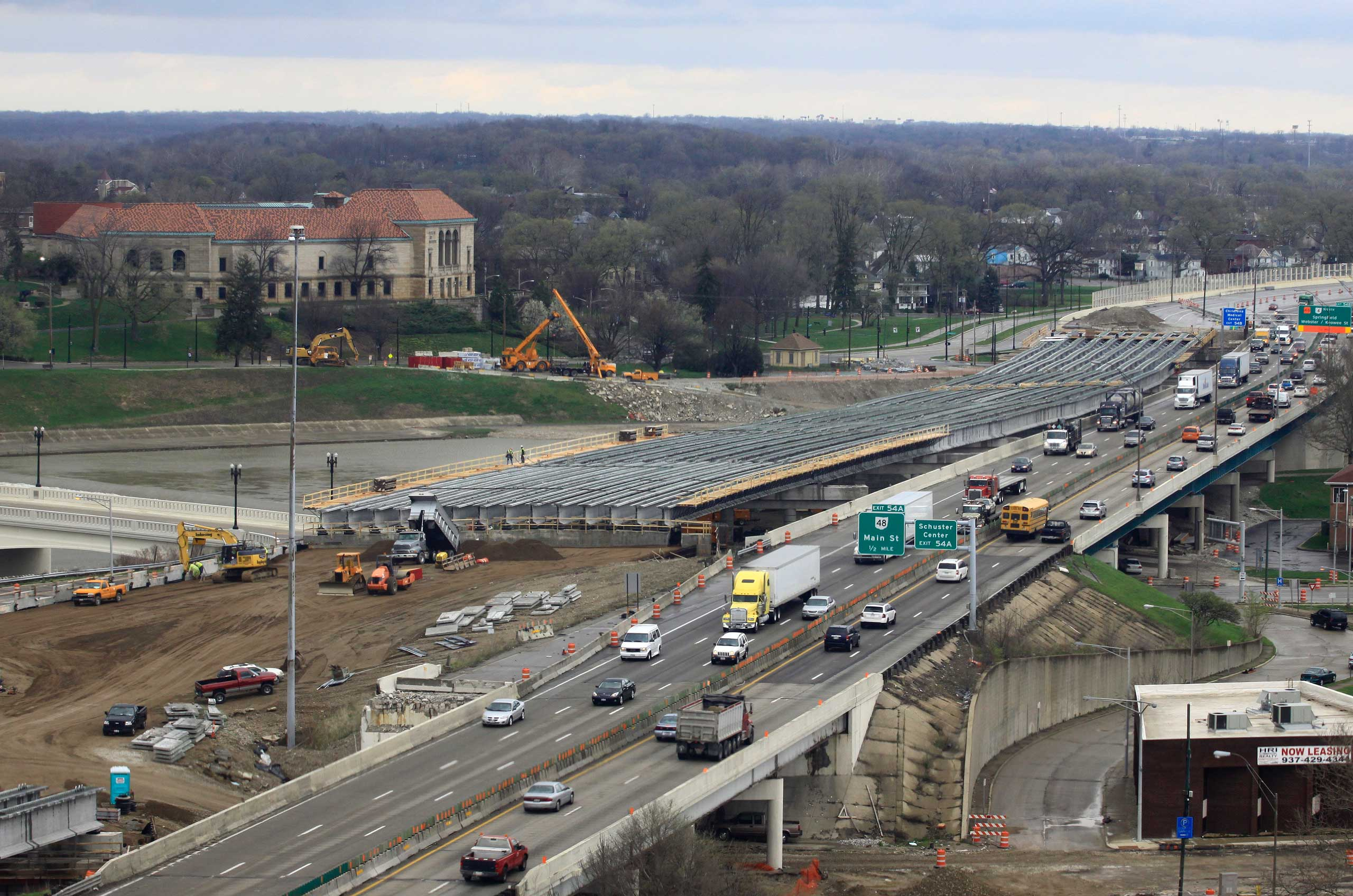 This photo taken April 14, 2014 shows one section of the $500 million I-75 Phase II modernization project in Dayton, Ohio.